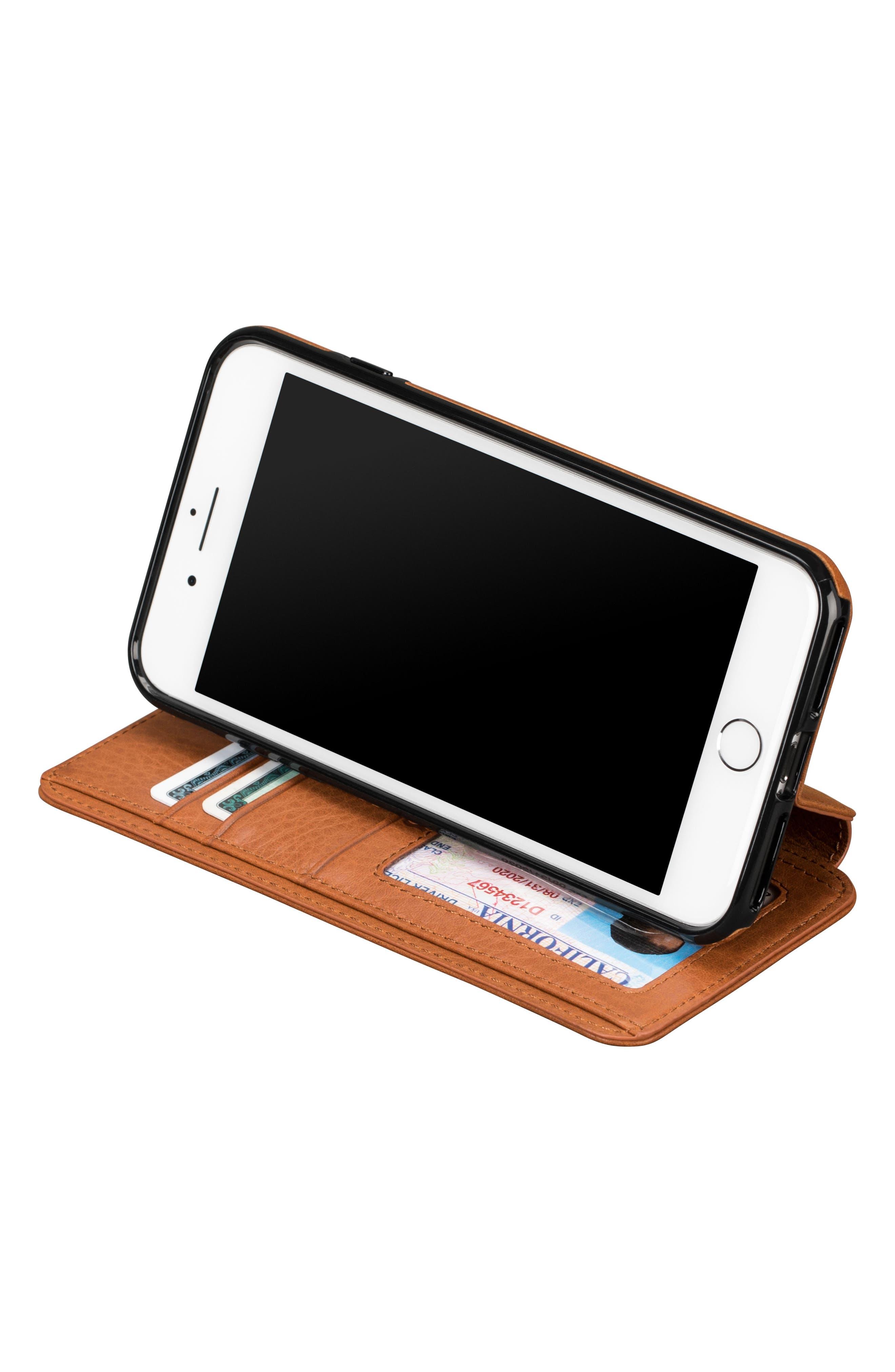 Bence iPhone 7/8 Plus Walletbook,                             Alternate thumbnail 4, color,                             SADDLE