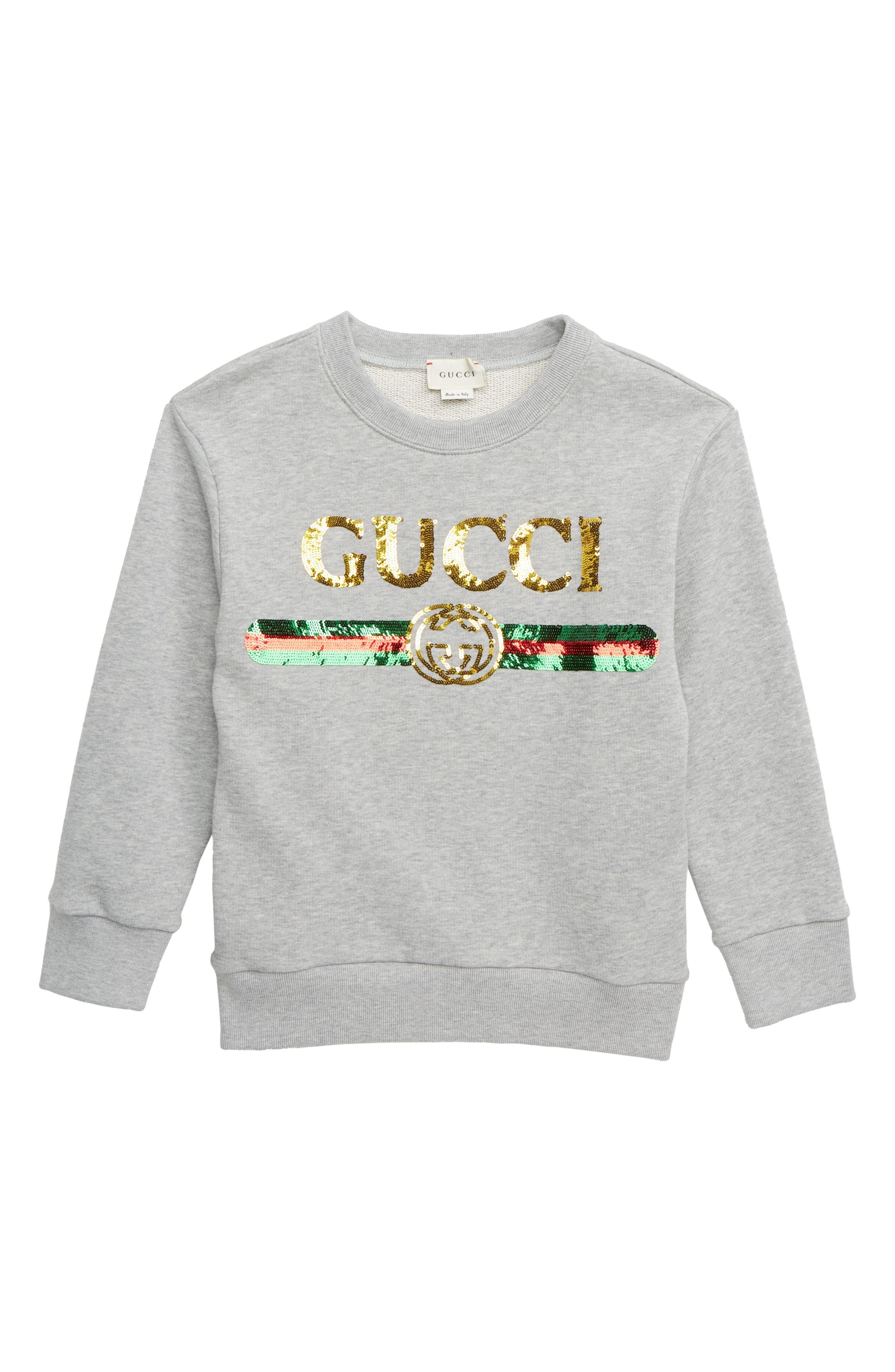 GUCCI,                             Embellished Sweatshirt,                             Main thumbnail 1, color,                             LIGHT GREY MELANGE