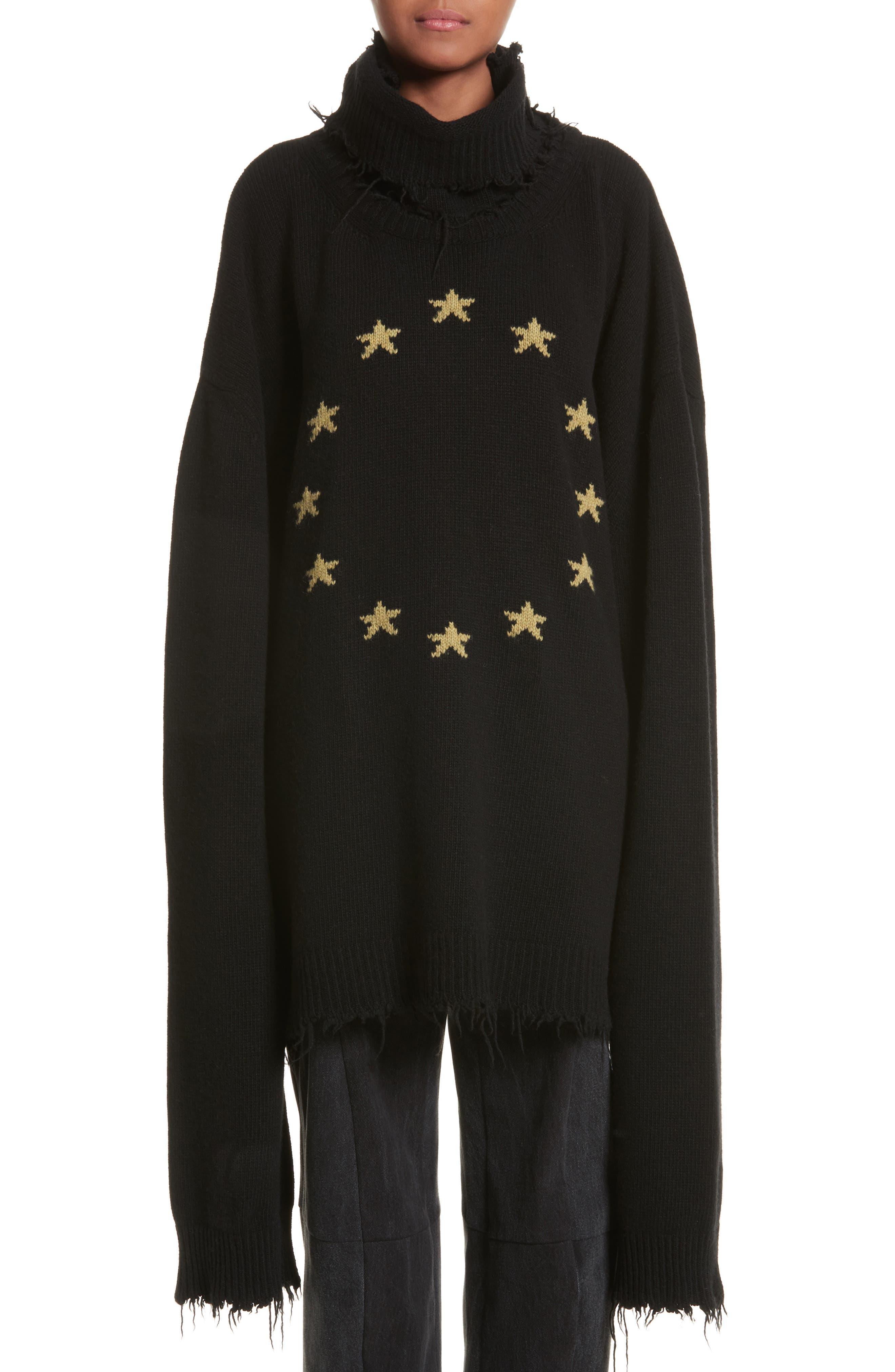 Star Turtleneck Sweater,                             Main thumbnail 1, color,                             001