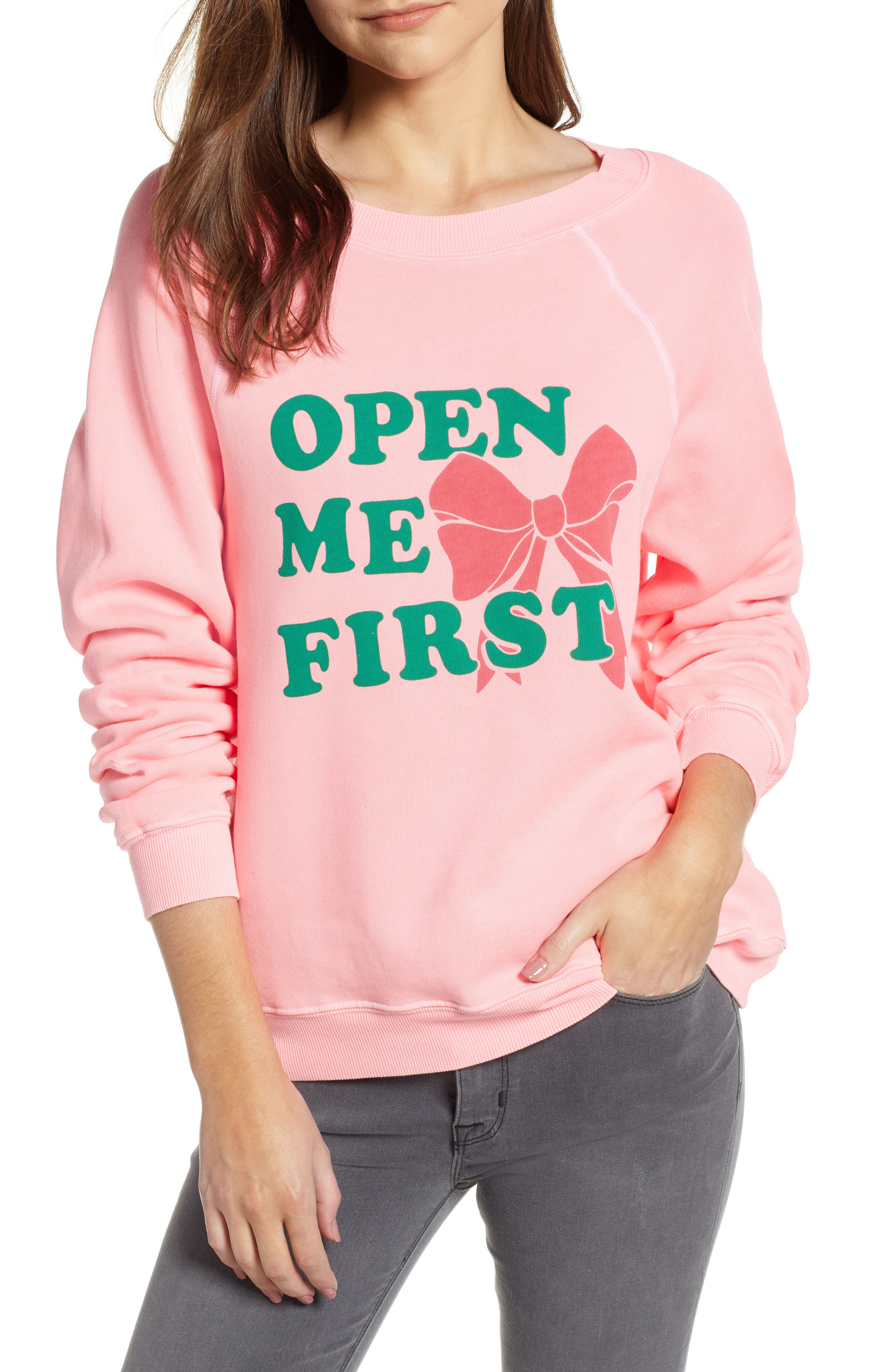 Open Me First Sommers Sweatshirt,                             Main thumbnail 1, color,                             NEON SIGN