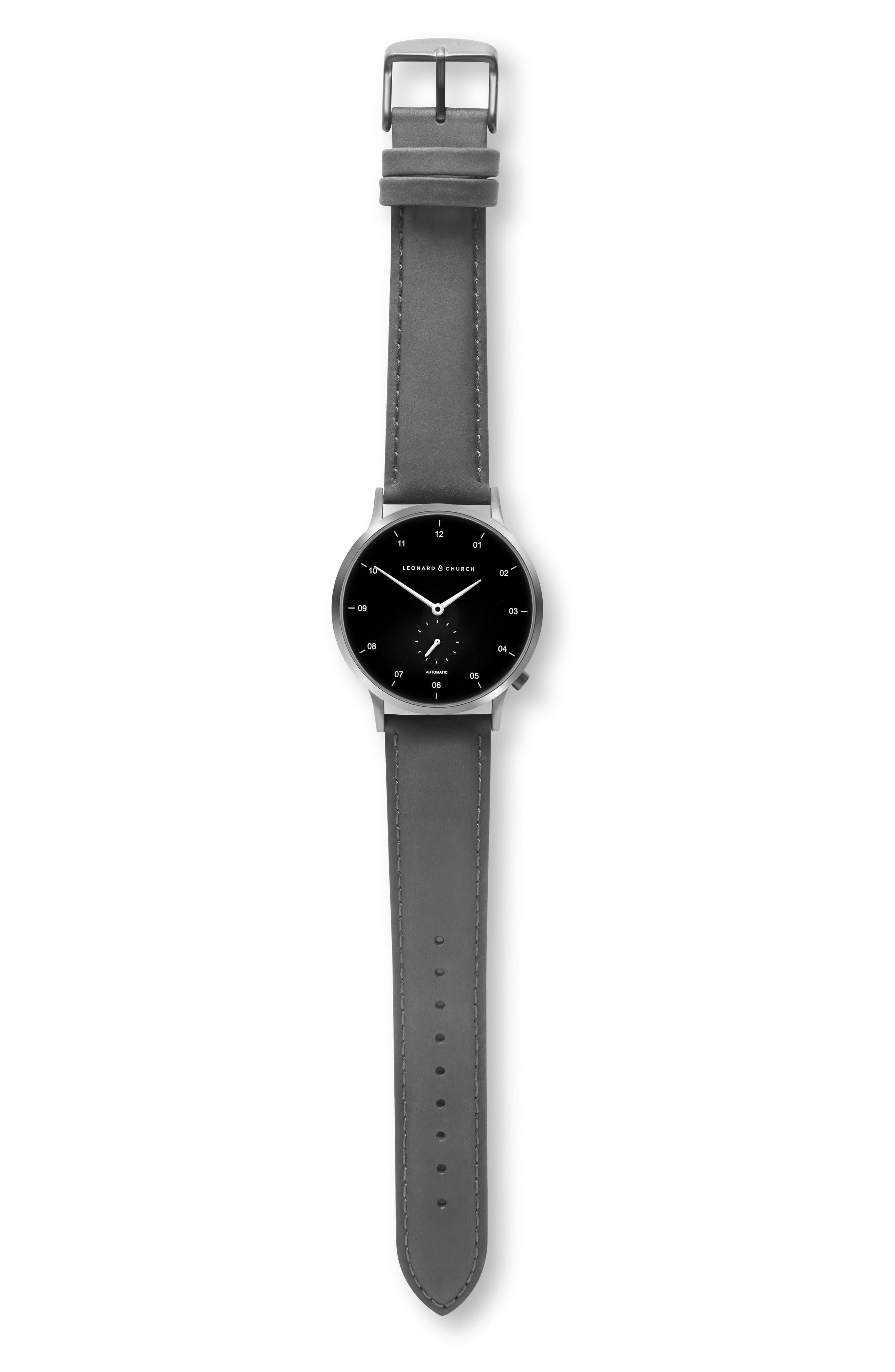 Leonard & Church Sullivan Automatic Suede Strap Watch, 39mm,                             Alternate thumbnail 5, color,                             BLACK