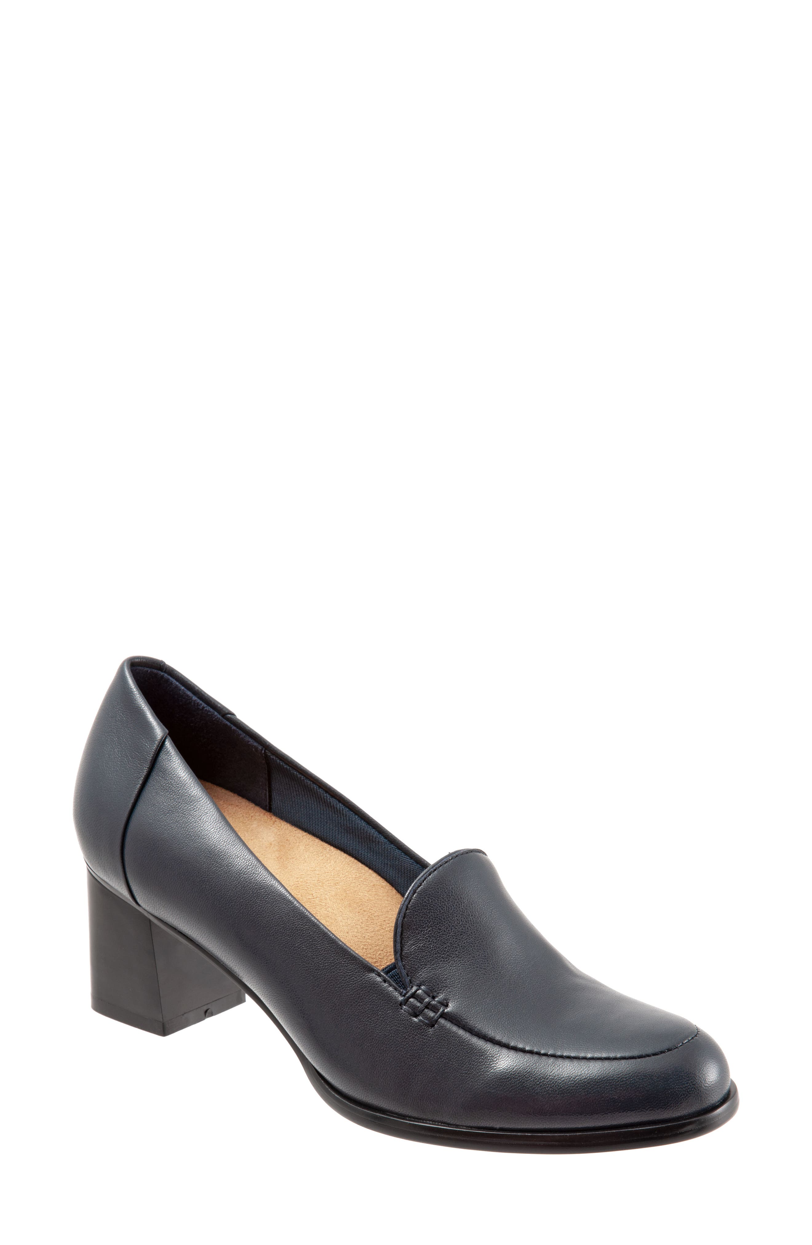 TROTTERS,                             Quincy Loafer Pump,                             Main thumbnail 1, color,                             NAVY LEATHER