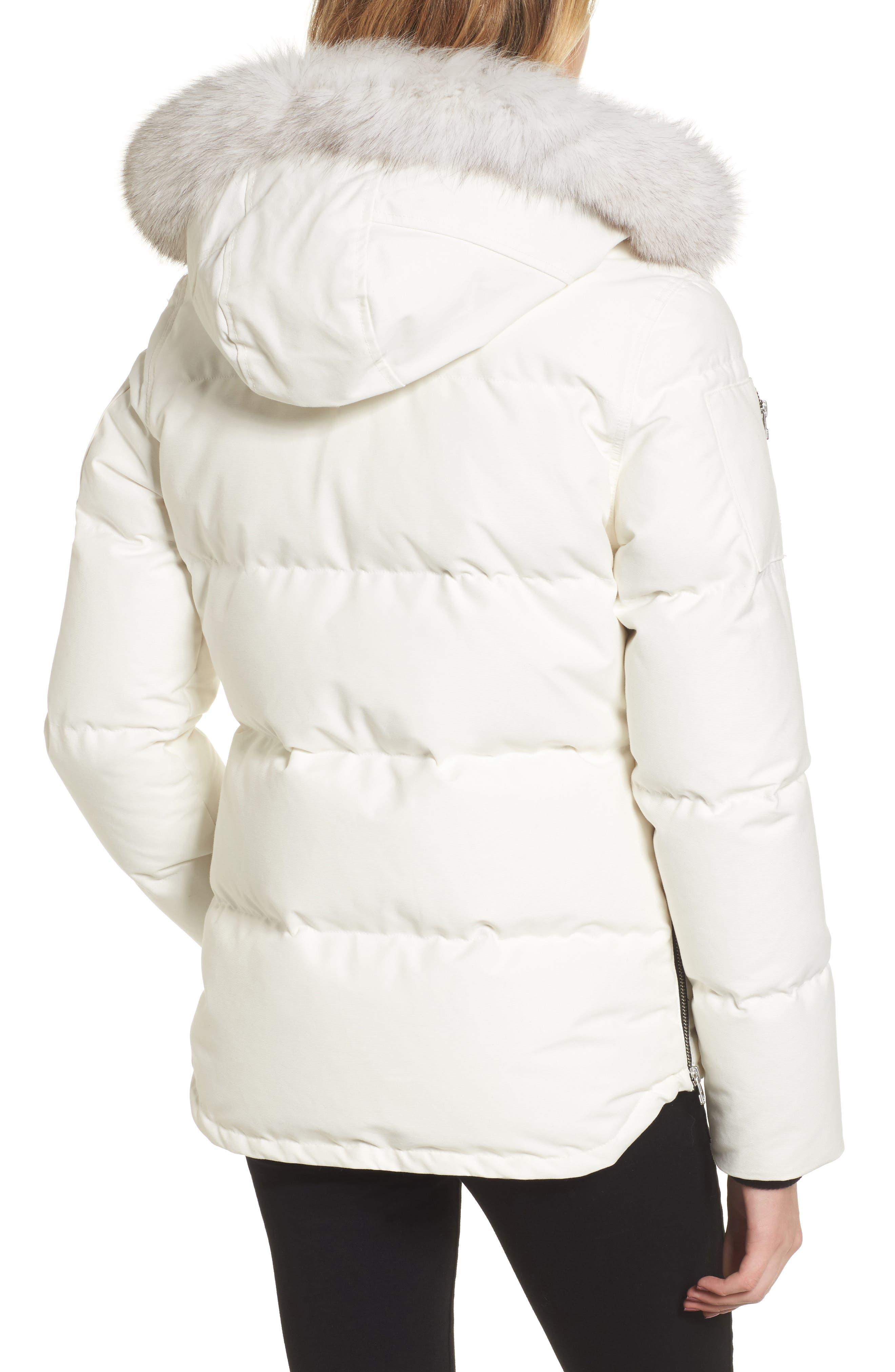 Genuine Fox Fur Trim Hooded Down Coat,                             Alternate thumbnail 2, color,                             SNOW WHITE/ BLACK FUR