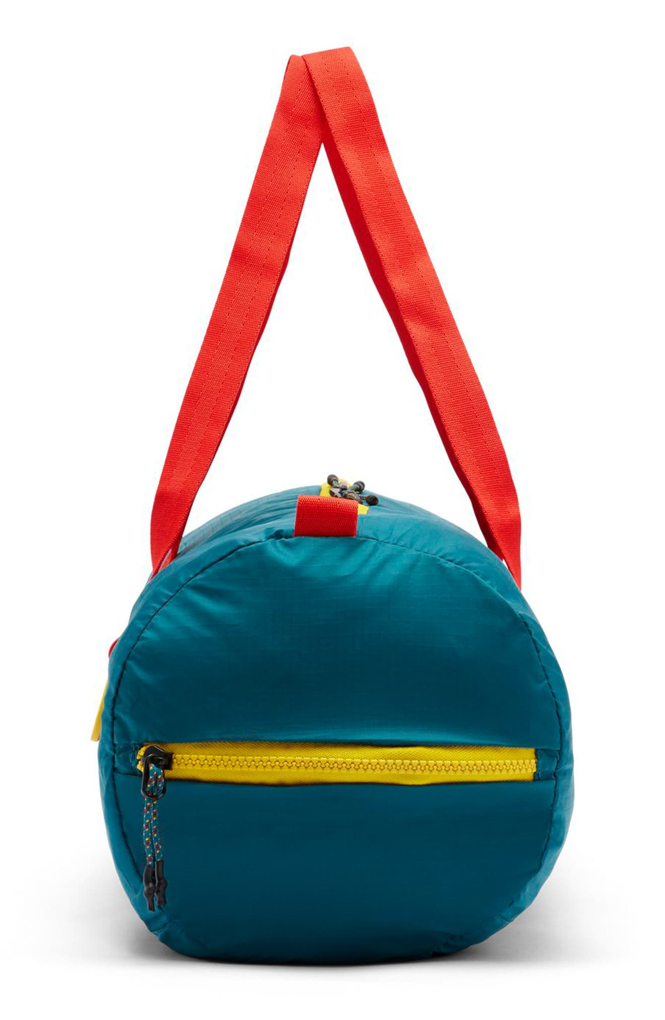 Packable Duffel Bag,                             Alternate thumbnail 3, color,                             GEODE TEAL/ HABANERO RED