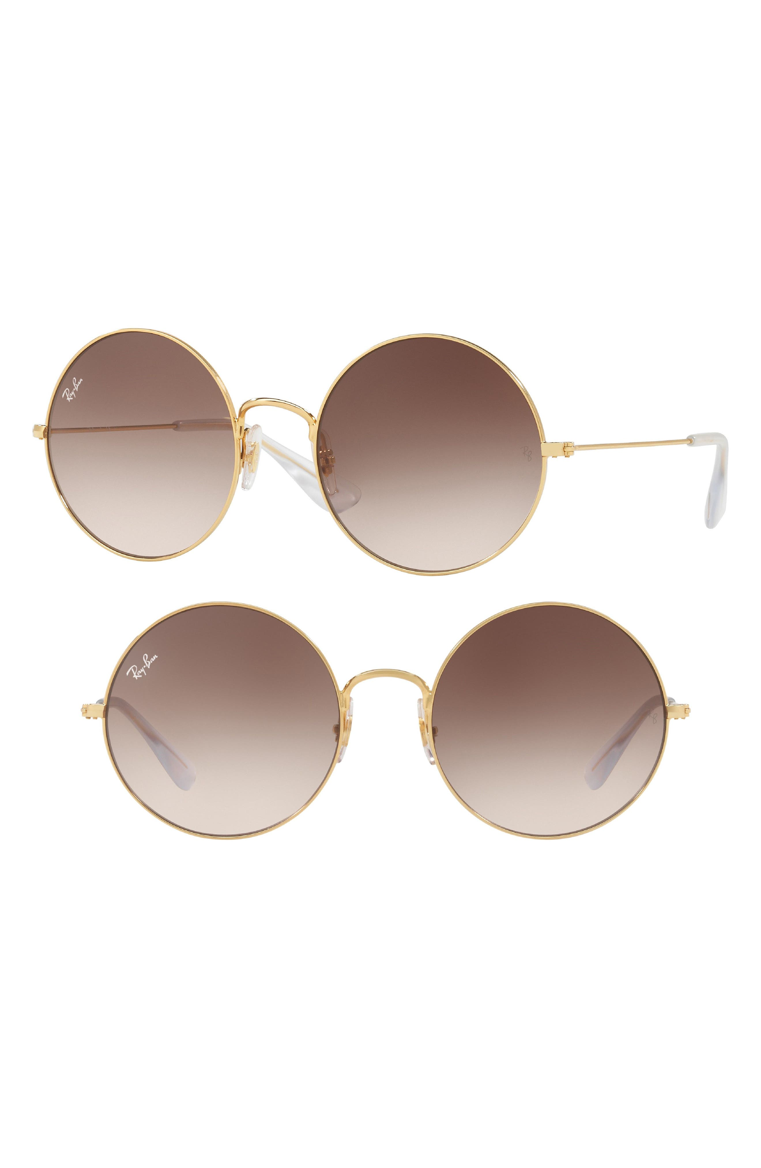 3592 55mm Gradient Round Sunglasses,                         Main,                         color, GOLD BROWN