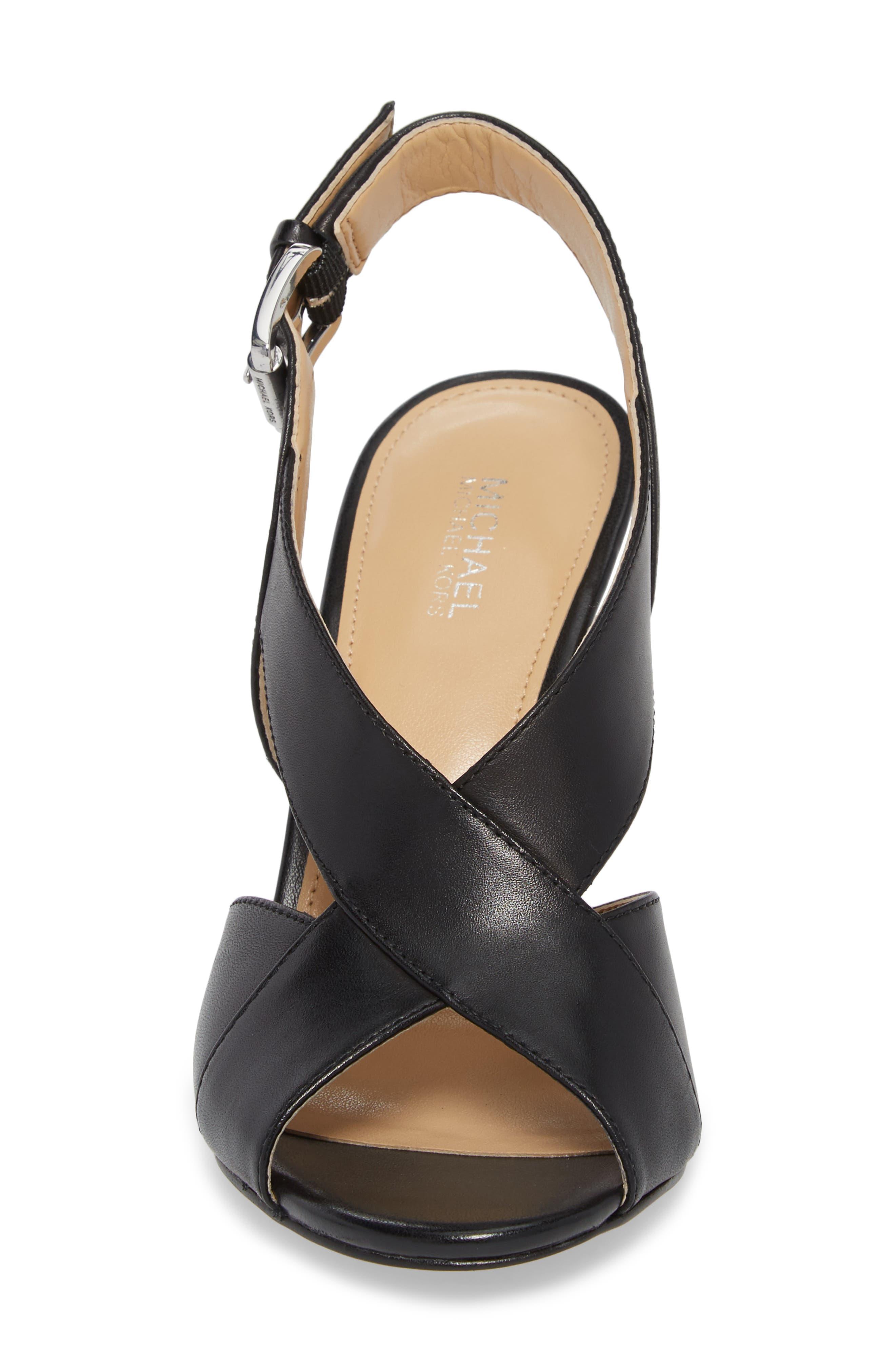Becky Cross Strap Sandal,                             Alternate thumbnail 4, color,                             BLACK LEATHER
