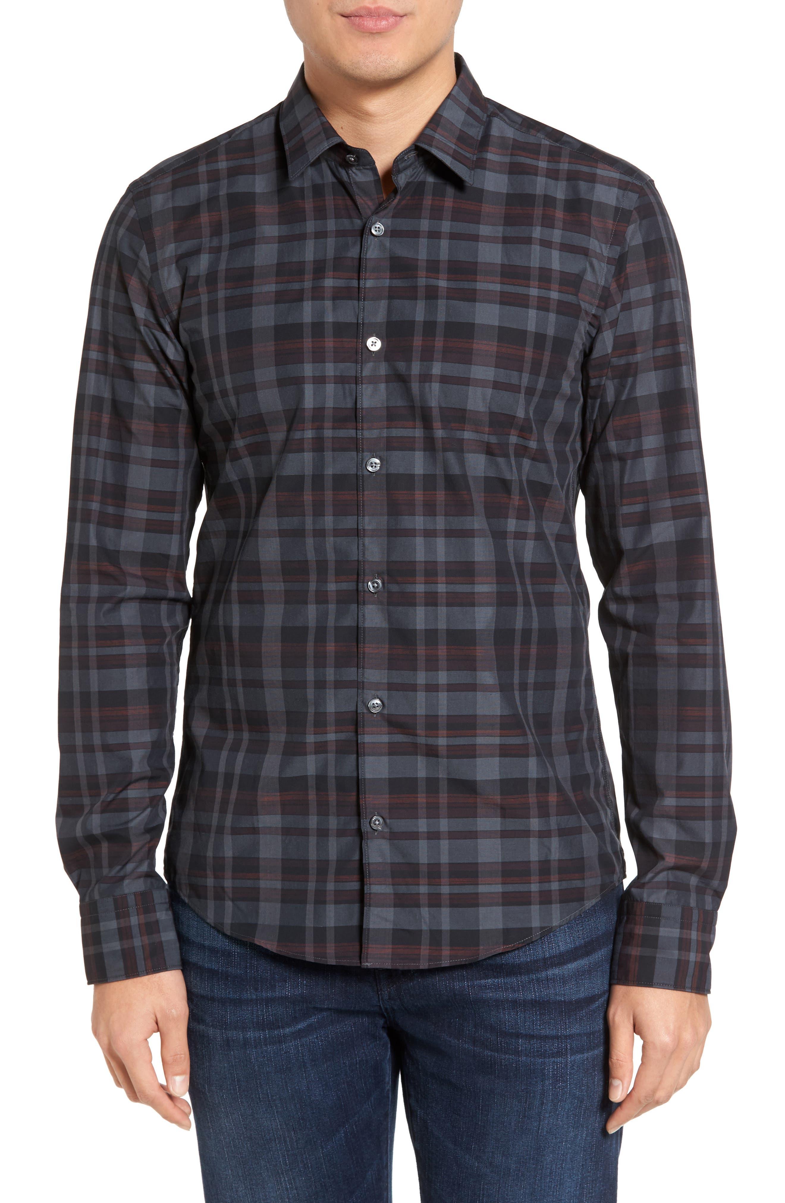 Trim Fit Check Sport Shirt,                         Main,                         color, 600