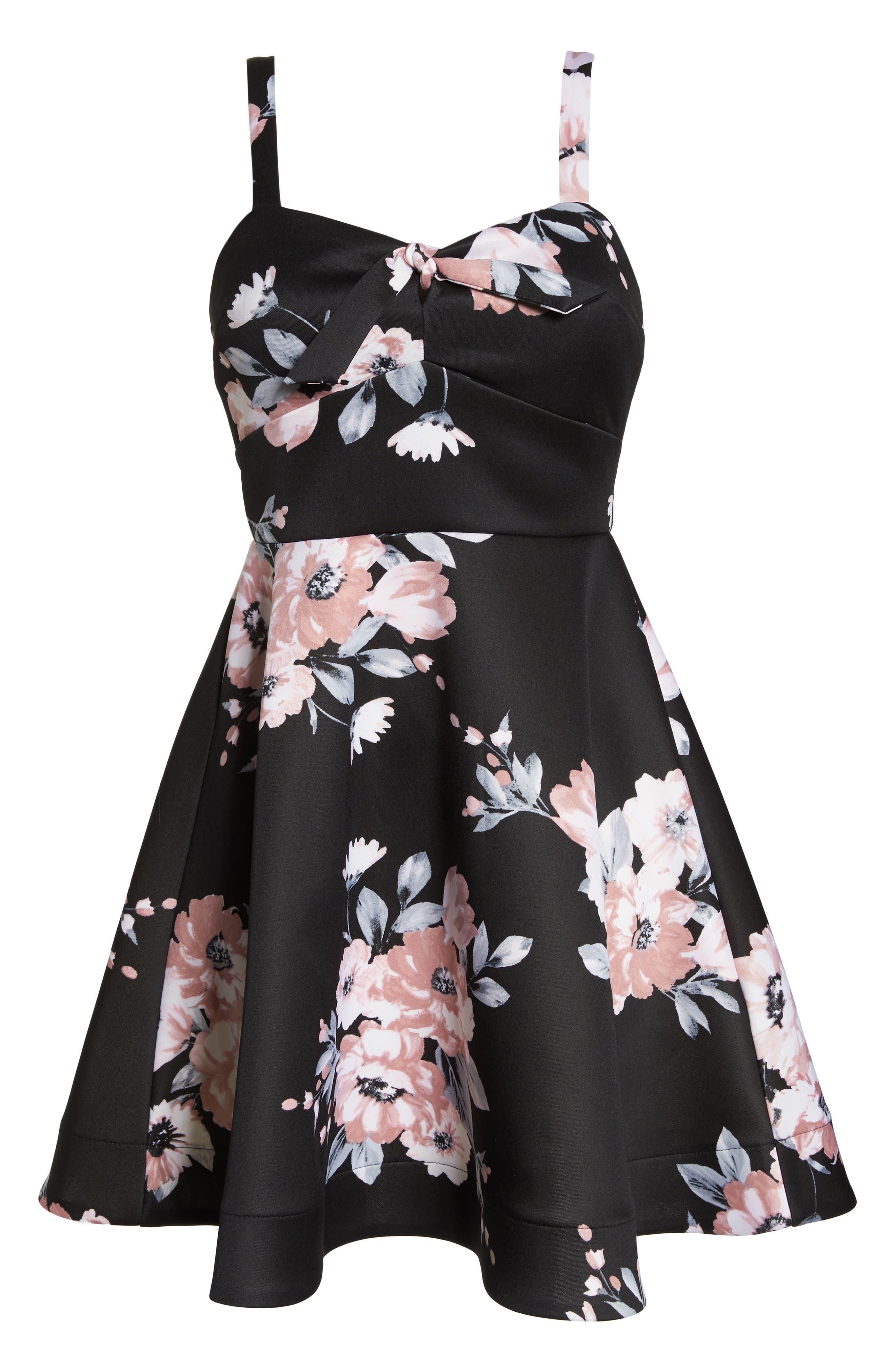 Floral Print Fit & Flare Dress,                             Alternate thumbnail 6, color,                             BLACK/ MAUVE