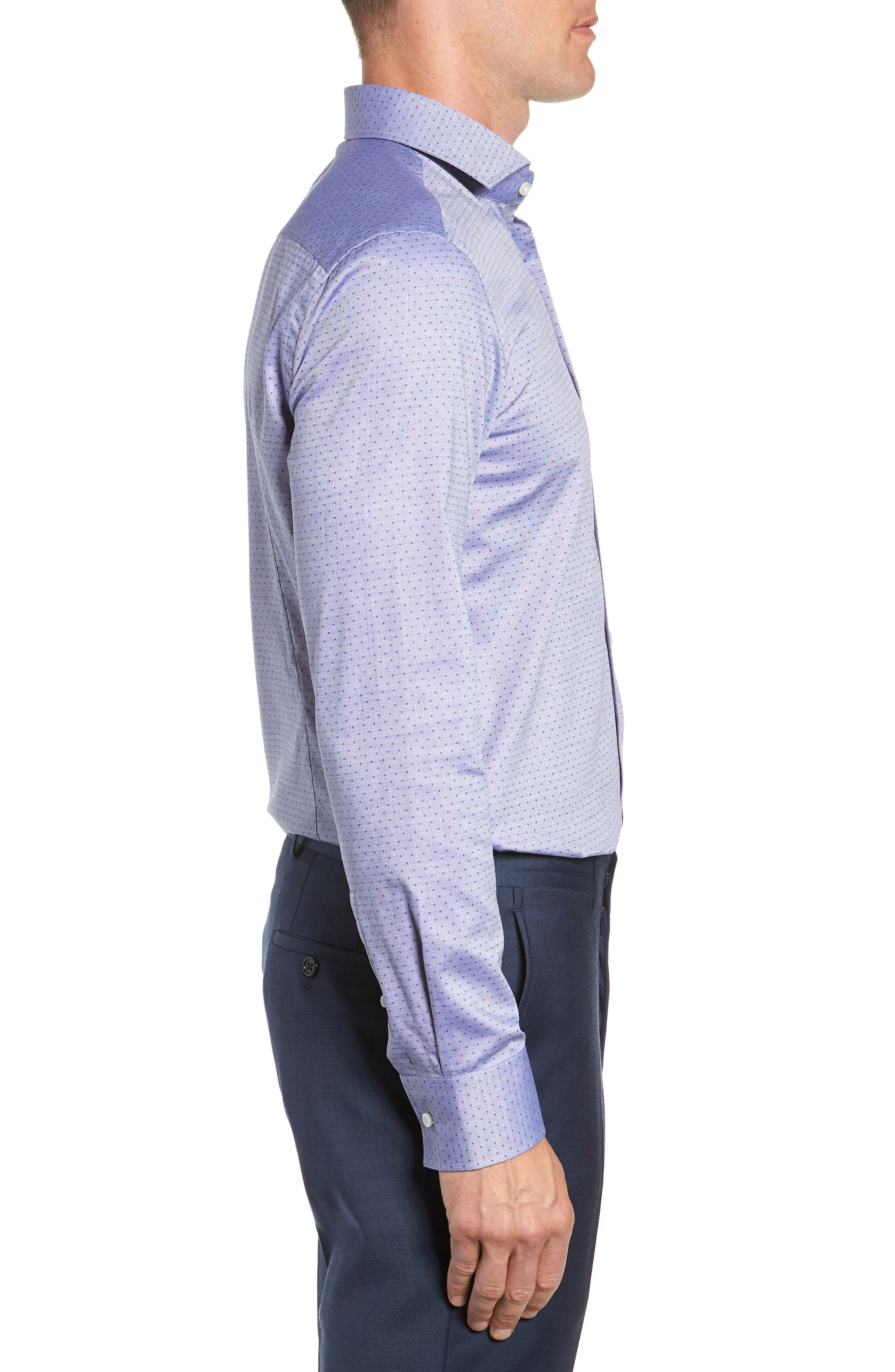 Jason Slim Fit Dot Dress Shirt,                             Alternate thumbnail 4, color,                             NAVY