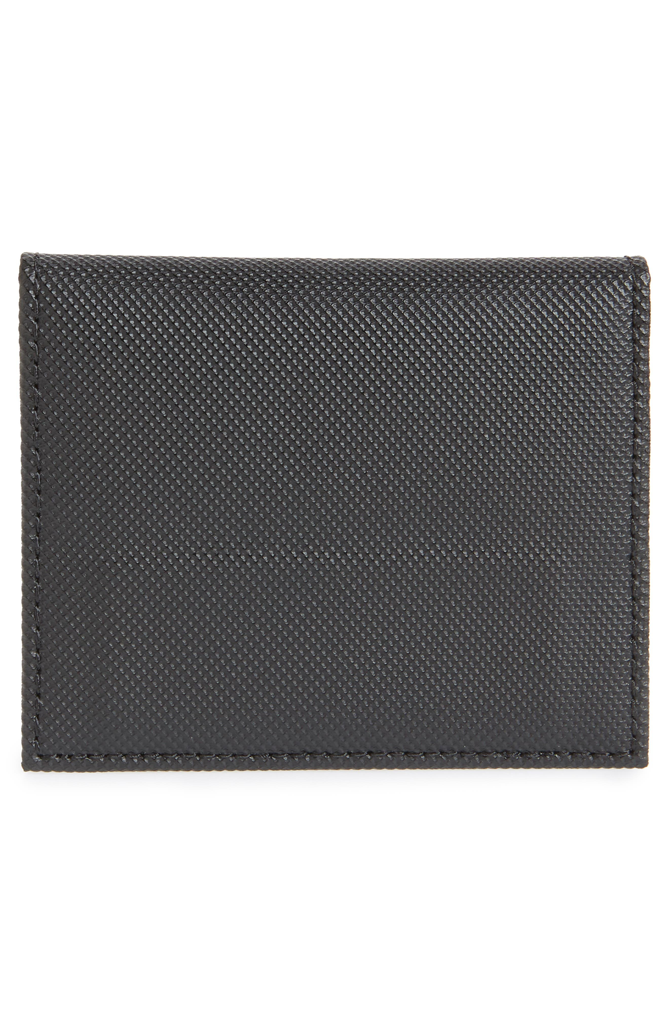 Micro Perforated Leather Bifold Card Holder,                             Alternate thumbnail 3, color,                             BLACK