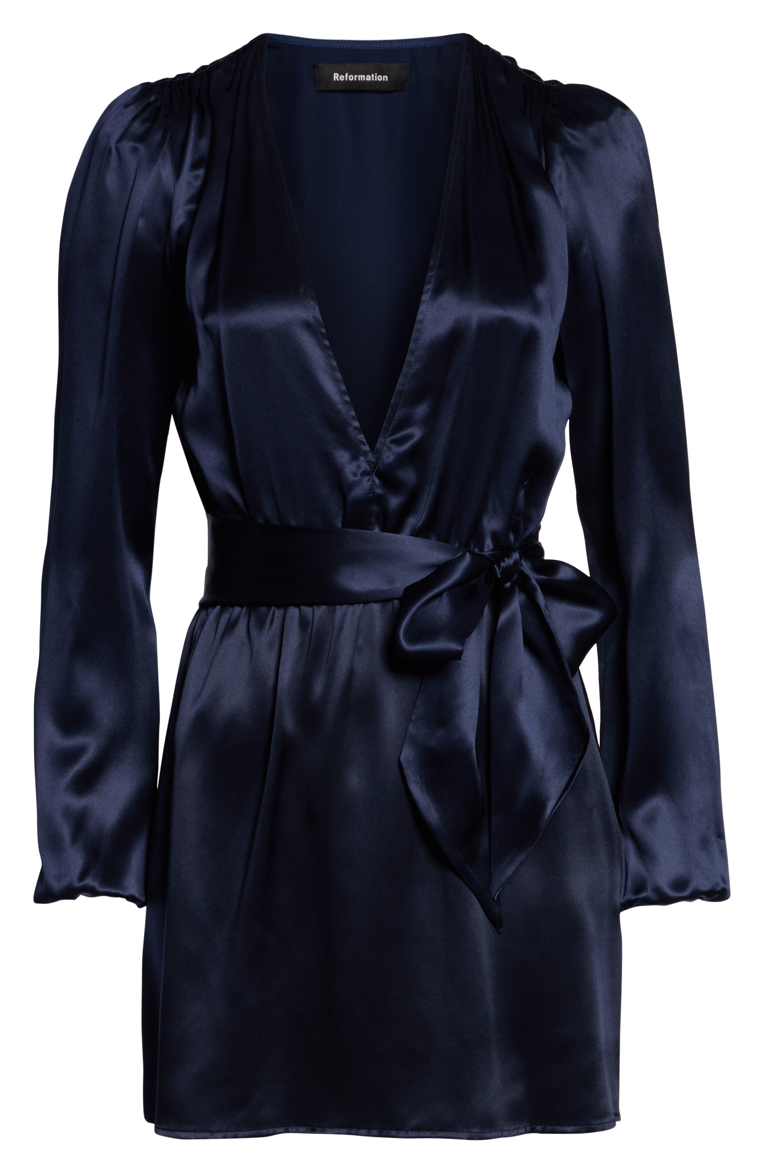 Nora V-Neck Dress,                             Alternate thumbnail 6, color,                             NAVY