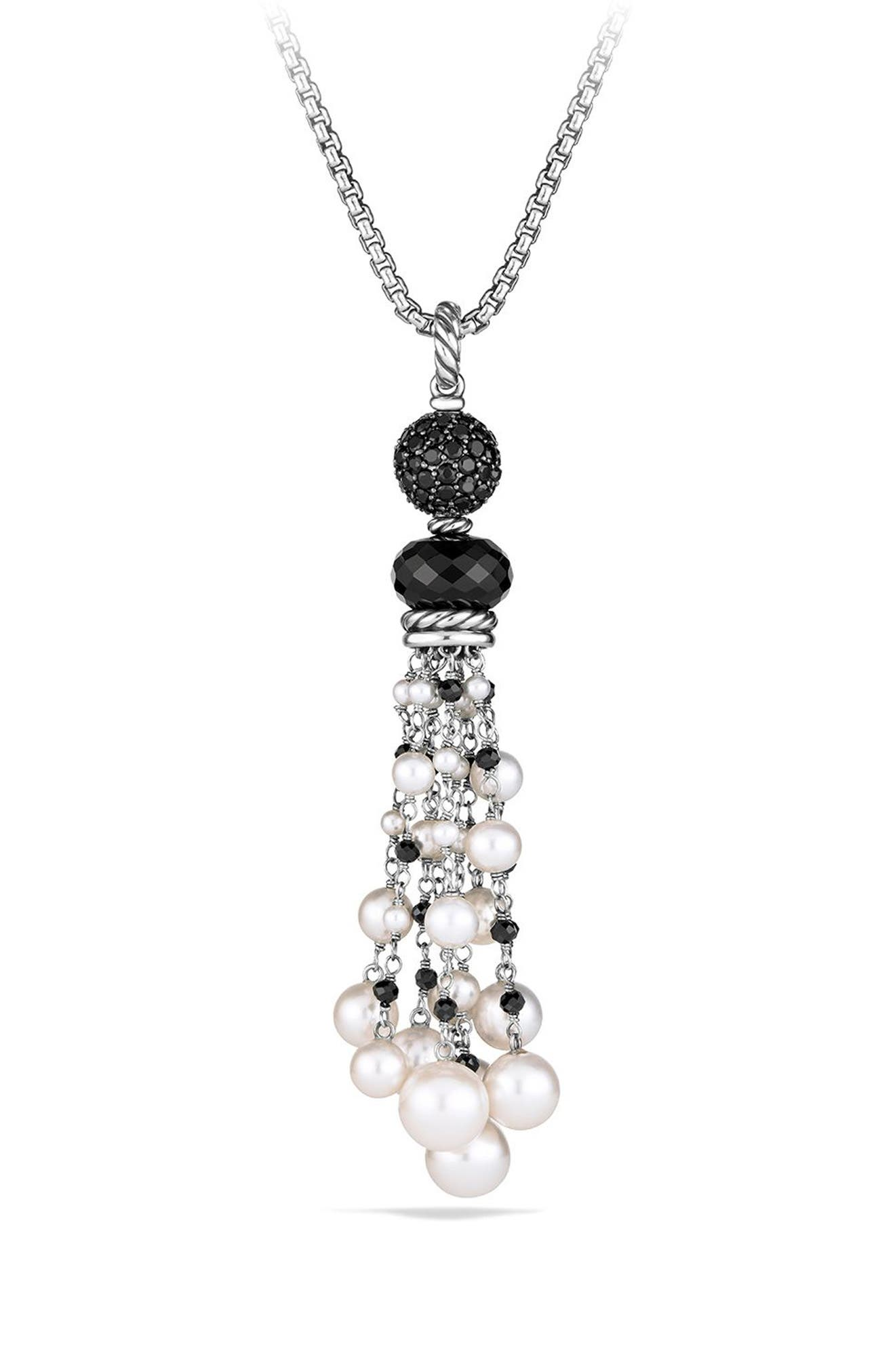 Oceanica Tassel Pendant with Black Onyx and Pearl,                             Main thumbnail 1, color,                             040