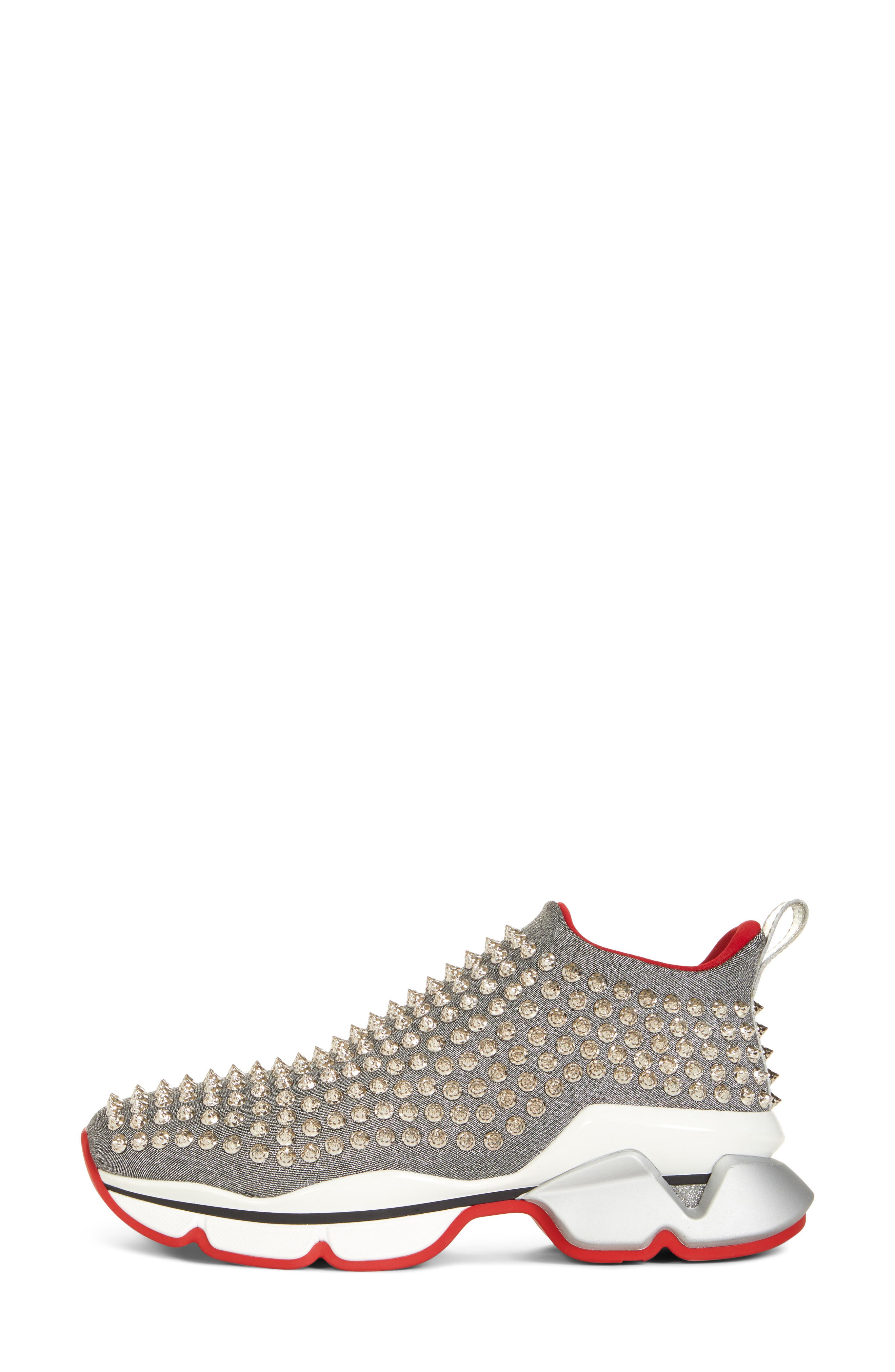 CHRISTIAN LOUBOUTIN,                             Spiky Sock-Knit Slip-On Sneaker,                             Alternate thumbnail 3, color,                             SILVER