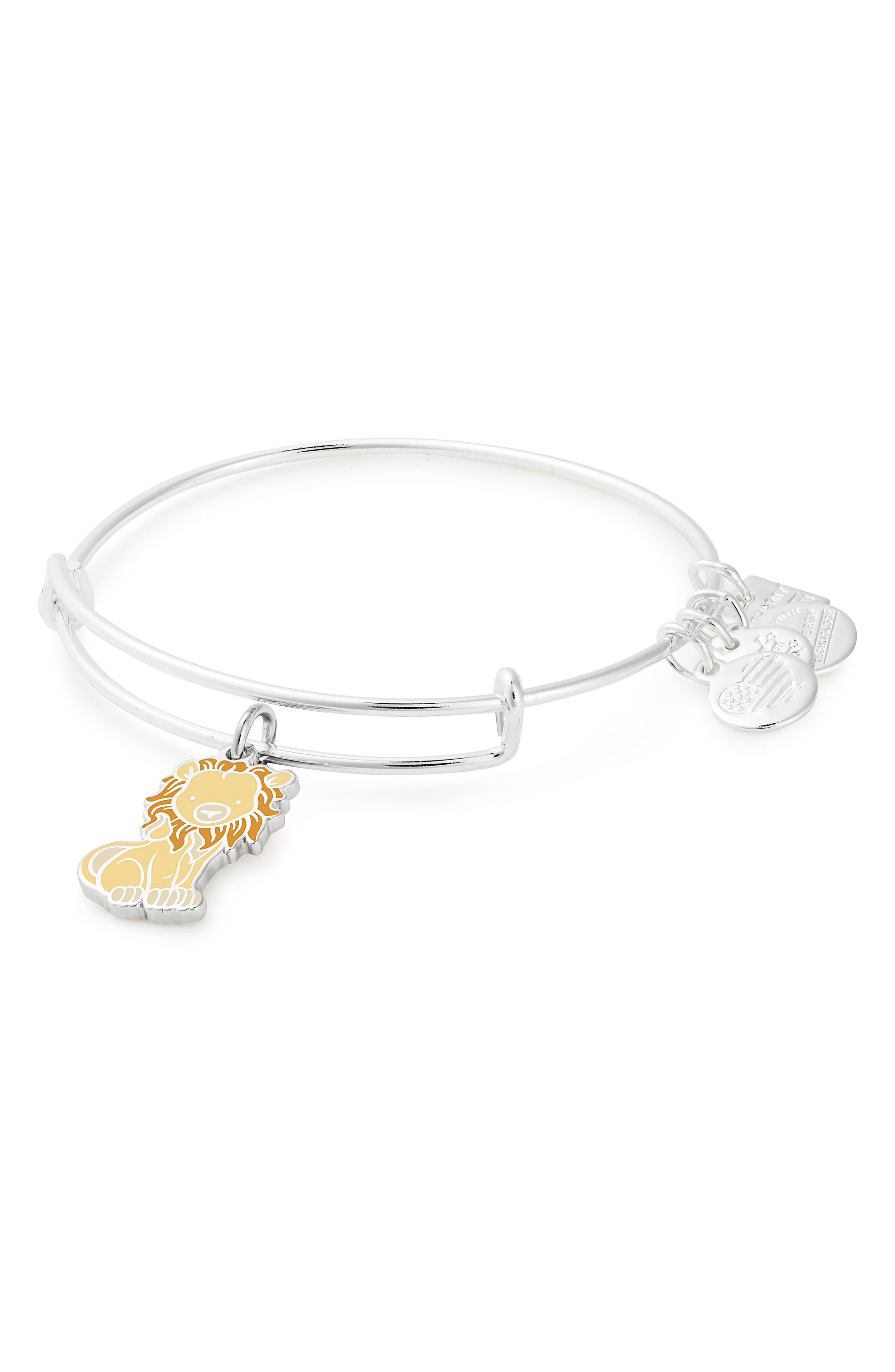 ALEX AND ANI Charity by Design - Lion Adjustable Wire Bangle, Main, color, SILVER