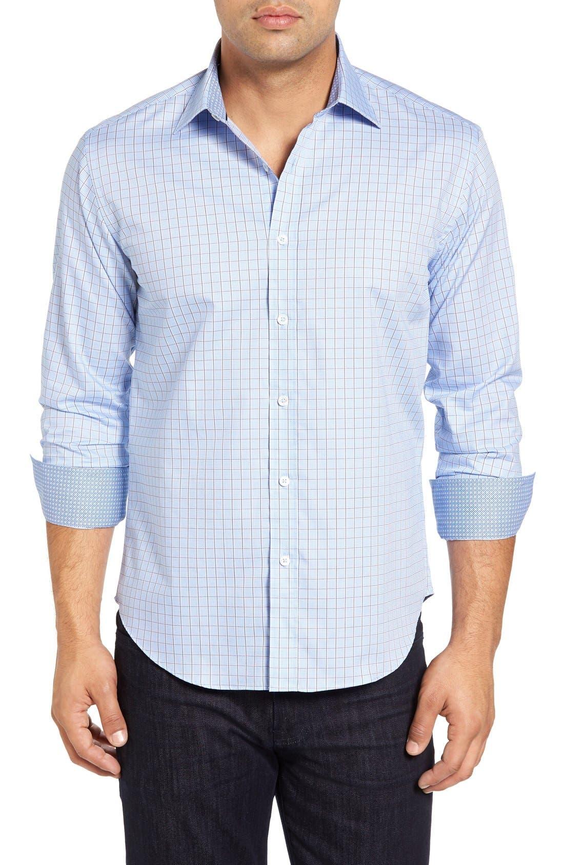 Shaped Fit Tattersall Sport Shirt,                             Main thumbnail 1, color,                             459