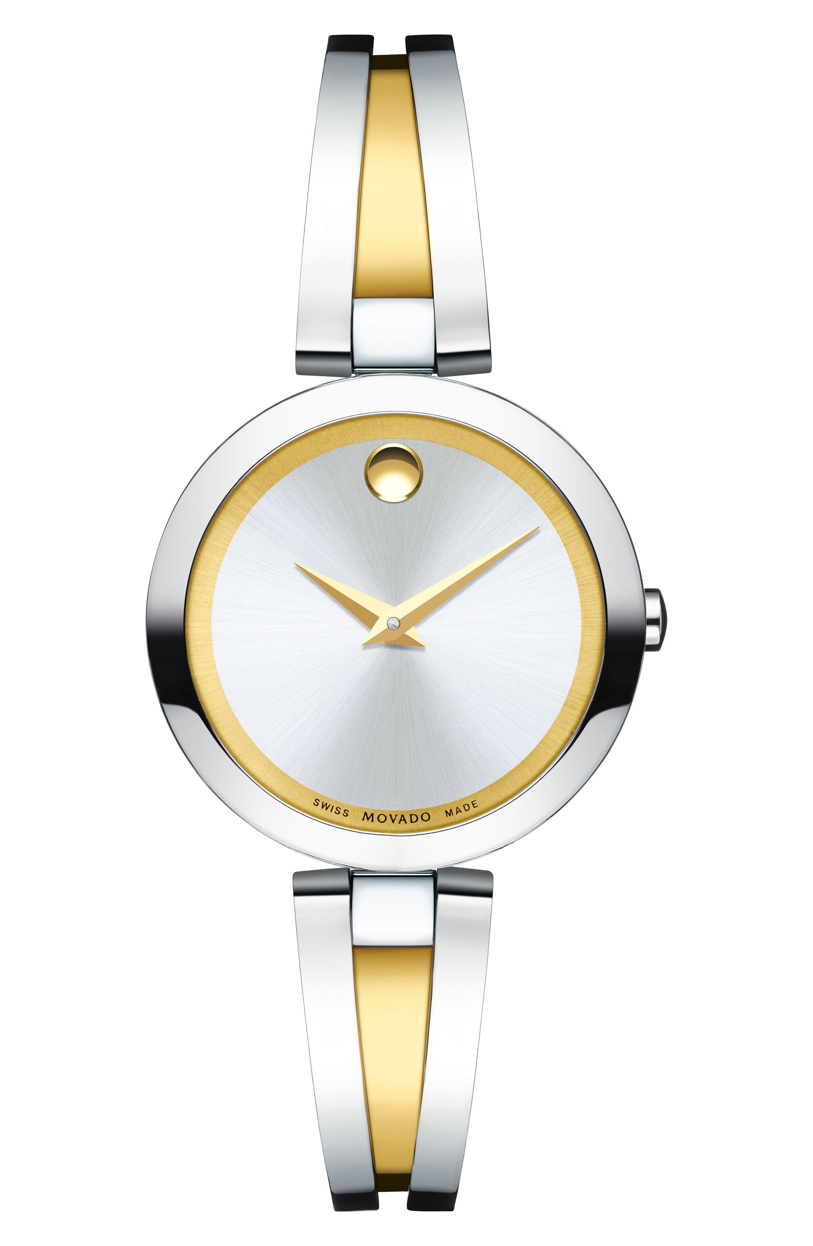 Aleena Bangle Watch, 27mm,                             Main thumbnail 1, color,                             SILVER/ GOLD
