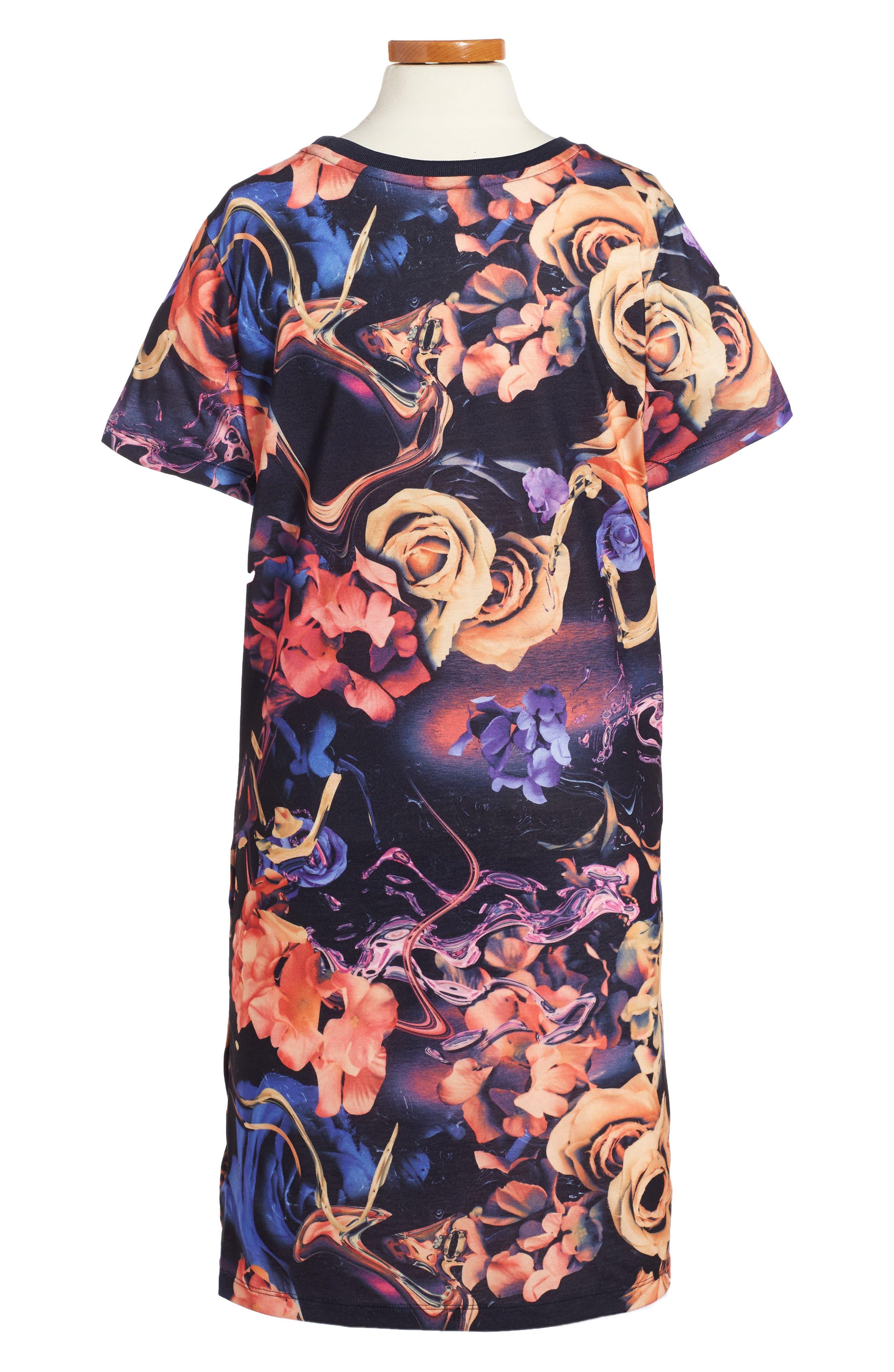 Rose Print T-Shirt Dress,                             Alternate thumbnail 2, color,                             001
