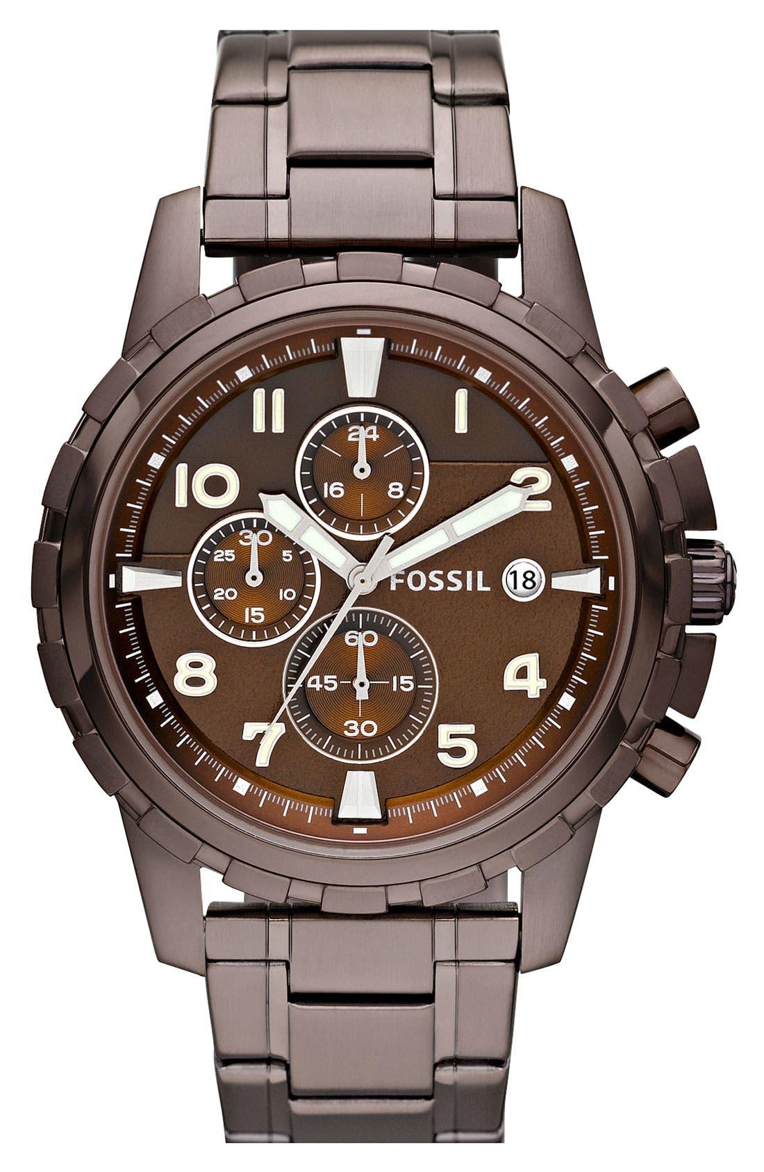 Notched Bezel Chronograph Bracelet Watch, 45mm,                             Main thumbnail 3, color,