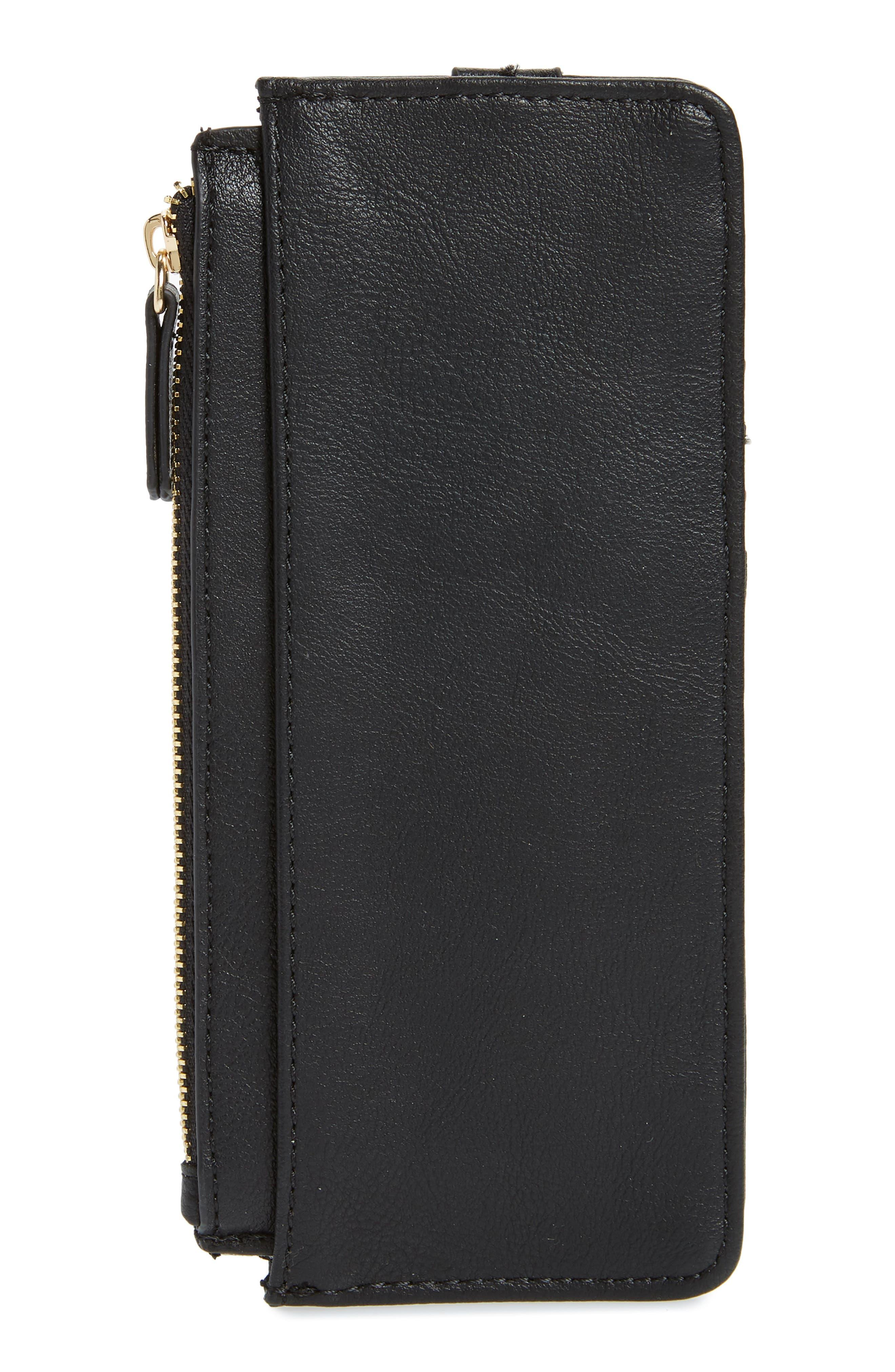 TZ Faux Leather Card Case,                             Alternate thumbnail 3, color,                             BLACK