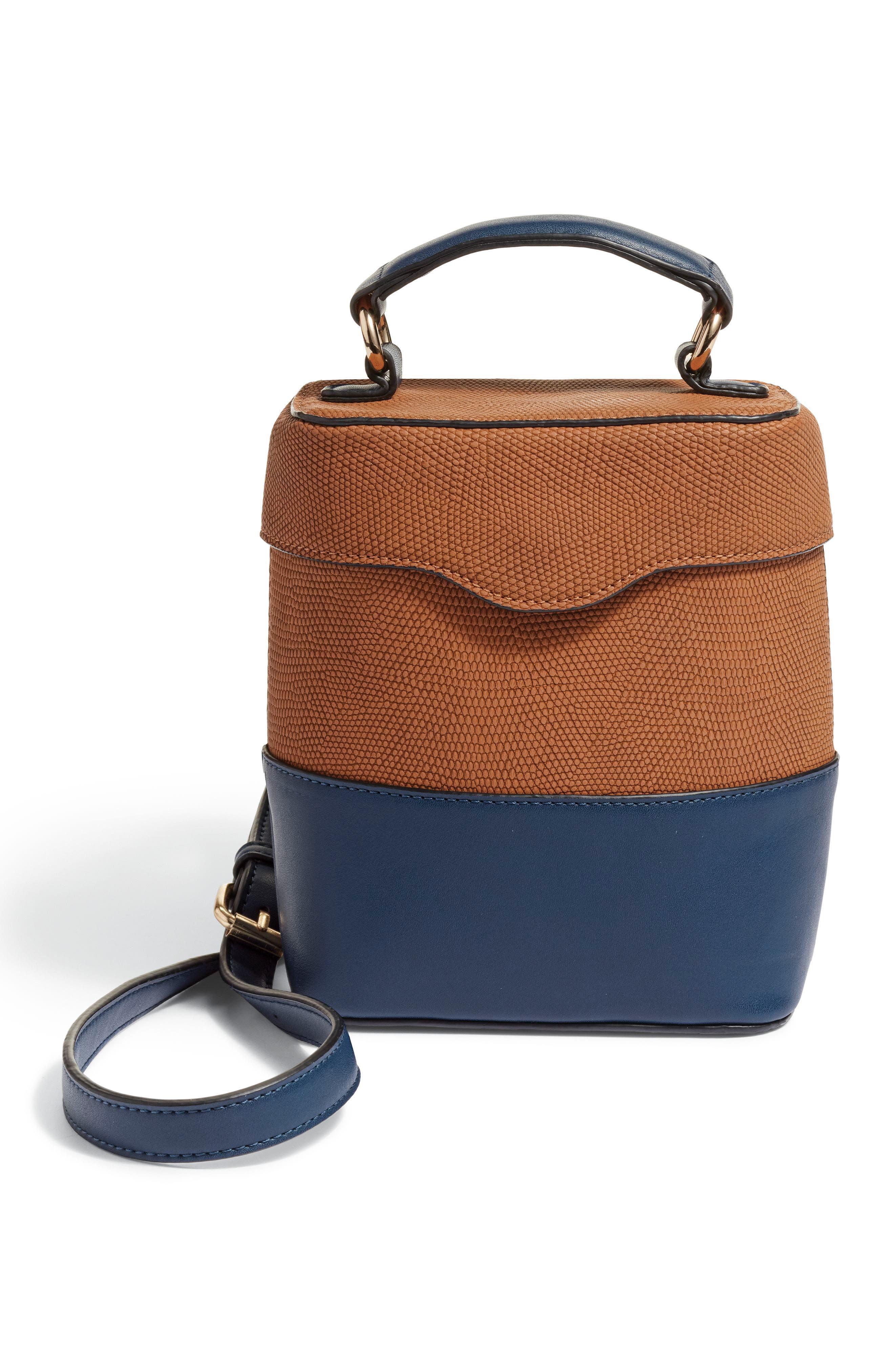Bicolor Faux Leather Cylinder Bag,                             Alternate thumbnail 8, color,                             OLIVE