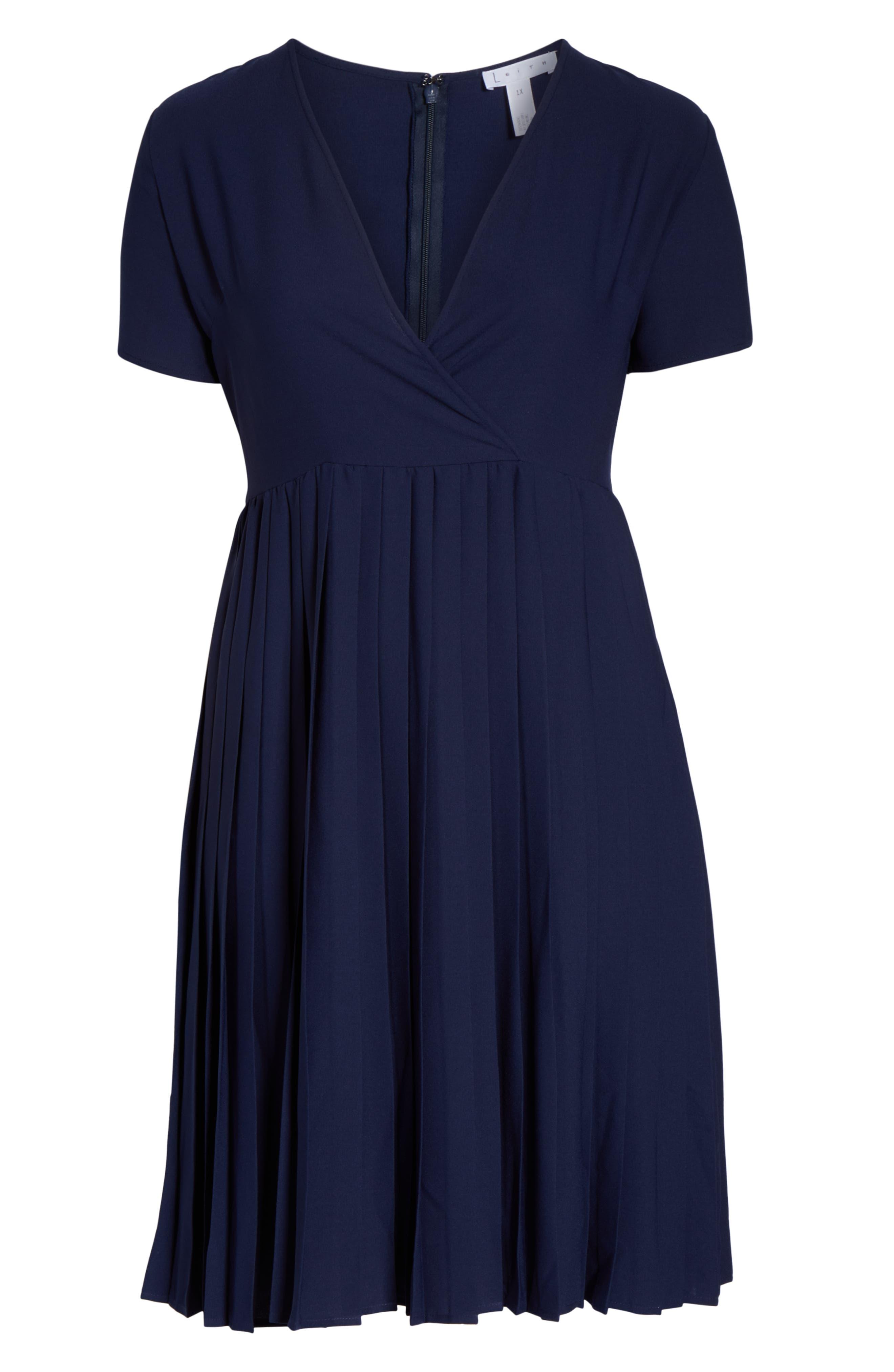 LEITH,                             Pleated Surplice Dress,                             Alternate thumbnail 13, color,                             NAVY PEACOAT