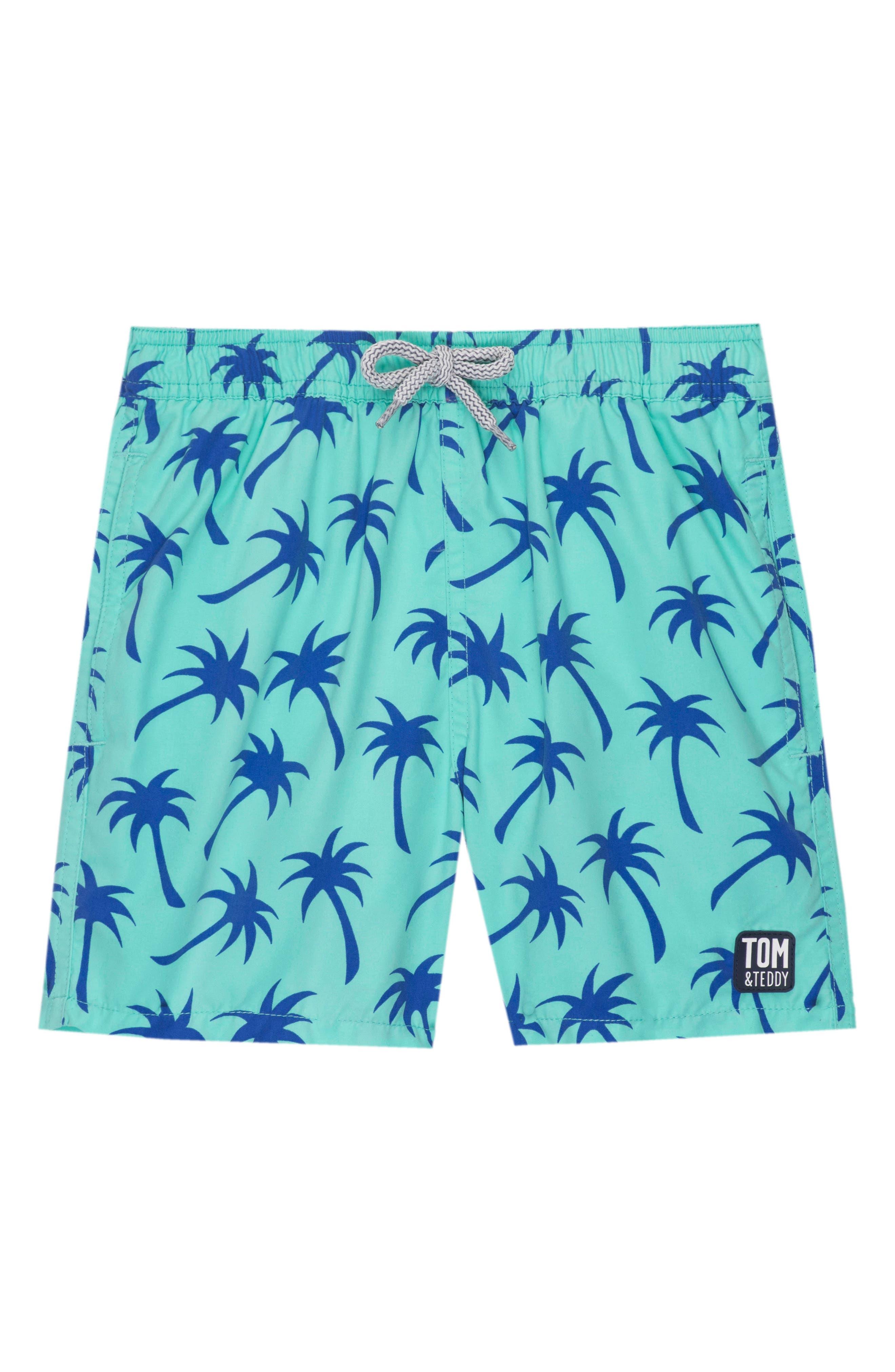 Palm Print Swim Trunks,                             Main thumbnail 1, color,                             EMERALD/ BLUE