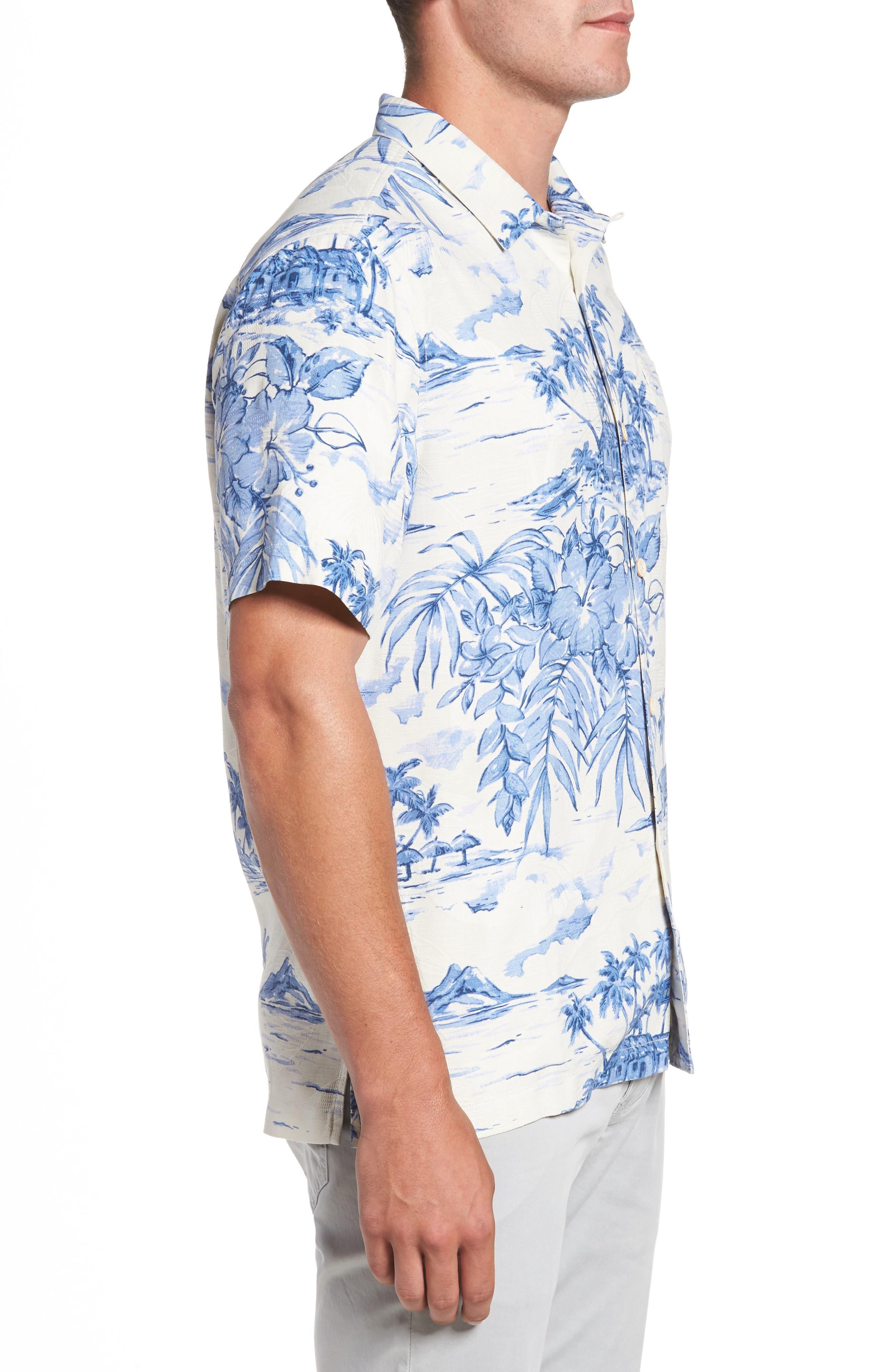 Destination Hawaii Classic Fit Silk Camp Shirt,                             Alternate thumbnail 3, color,                             100