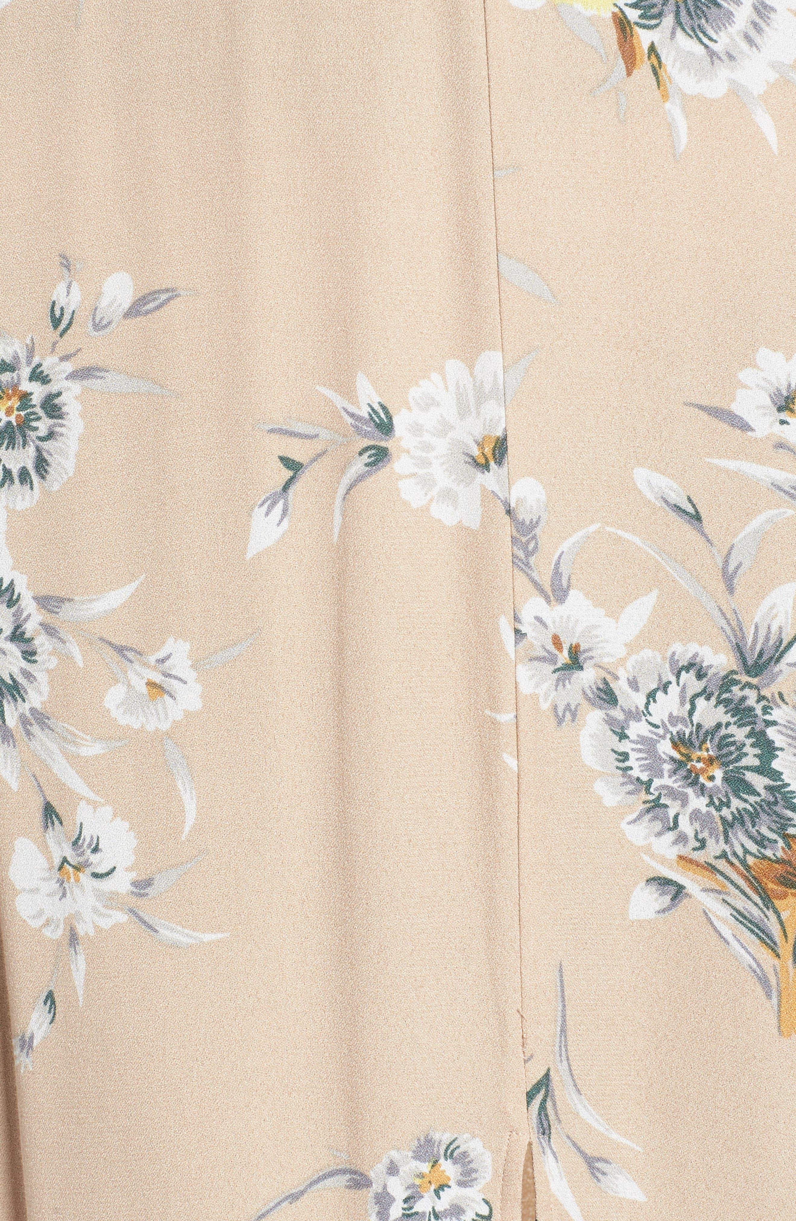 Aliana Tie Detail Dress,                             Alternate thumbnail 6, color,                             BEIGE BOUQUET