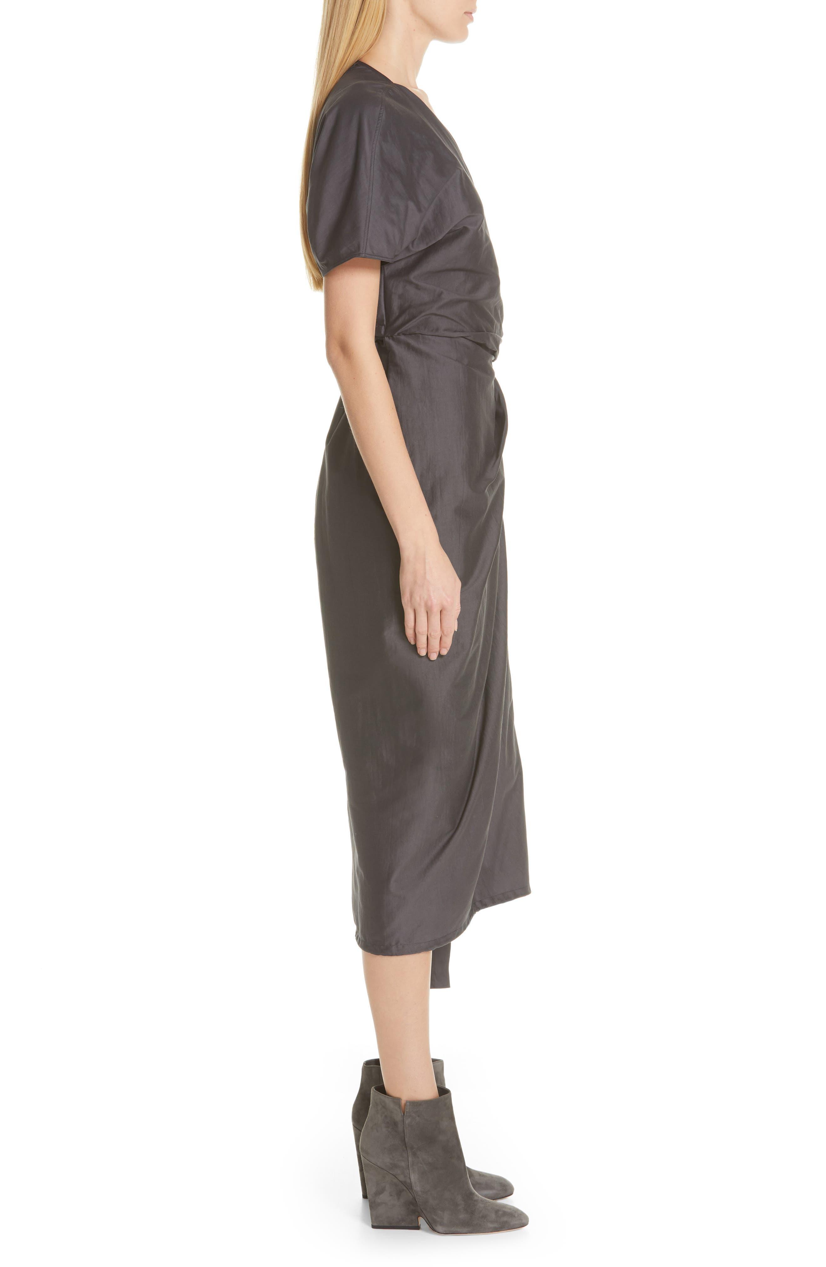 RICK OWENS,                             Limo Cotton & Silk Wrap Dress,                             Alternate thumbnail 4, color,                             BLUE JAY