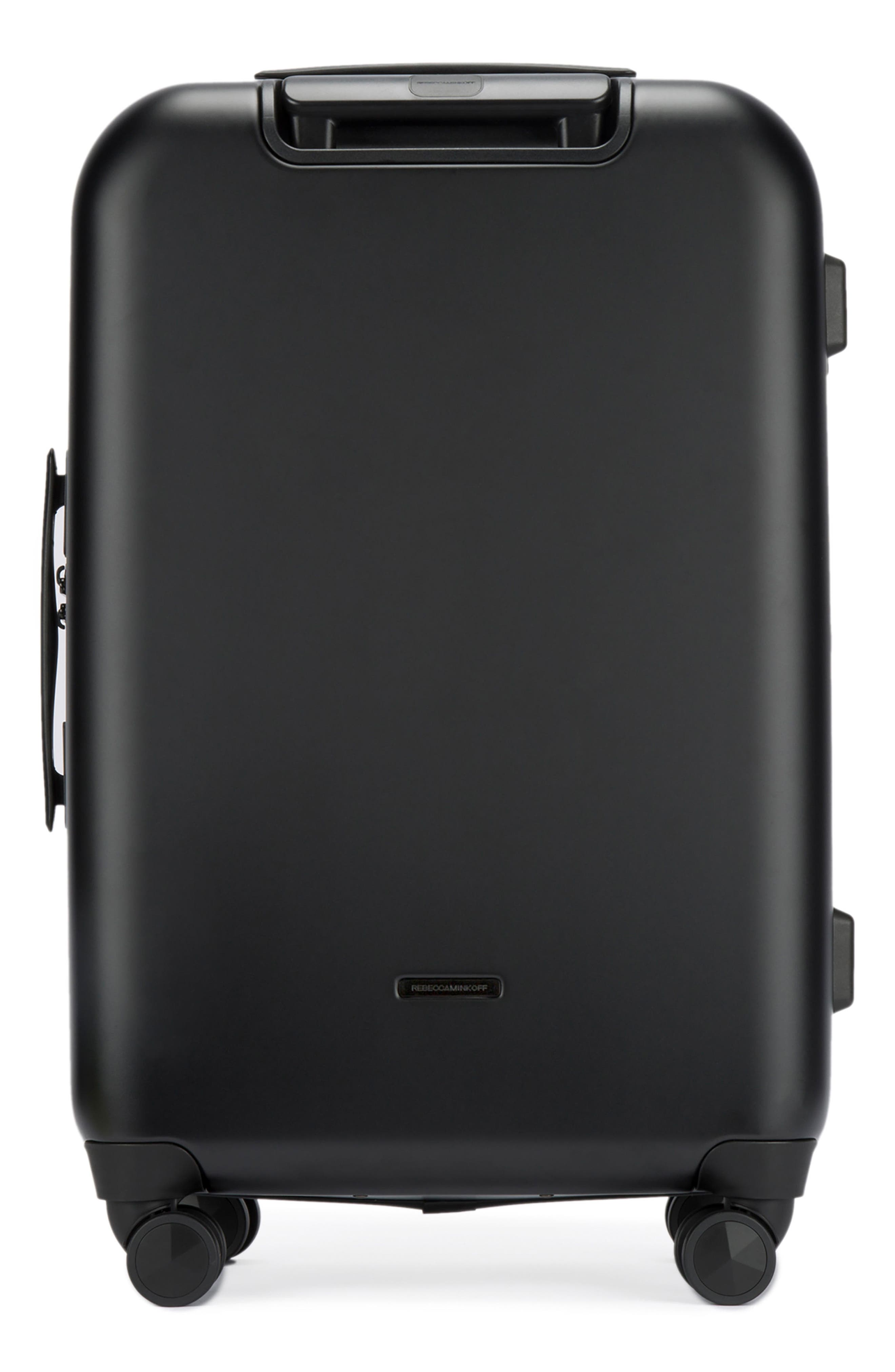REBECCA MINKOFF,                             So Connected 22-Inch Charging Spinner Suitcase,                             Alternate thumbnail 2, color,                             MATTE BLACK