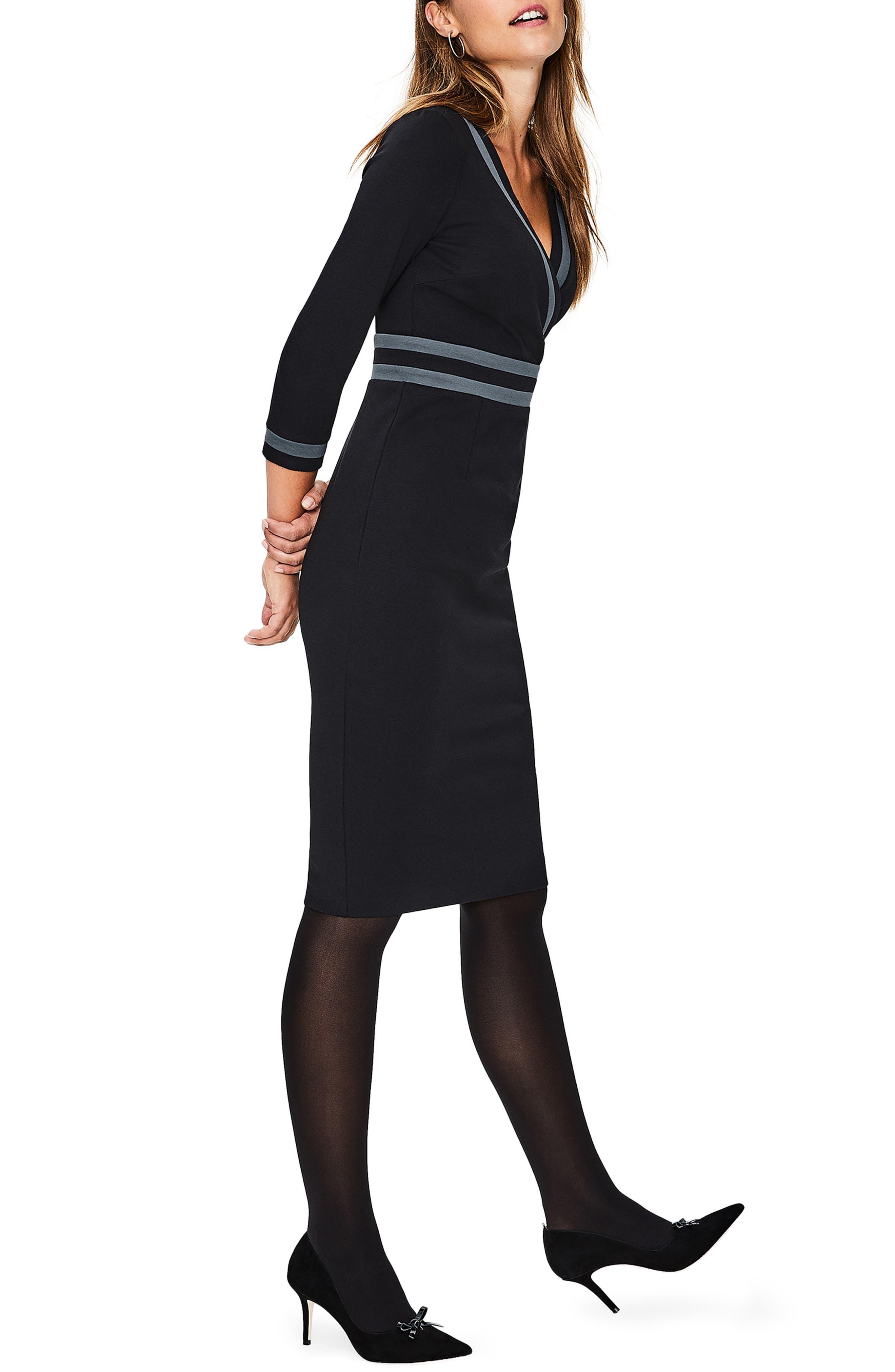 Nellie Ponte Knit Dress,                             Alternate thumbnail 3, color,                             BLACK