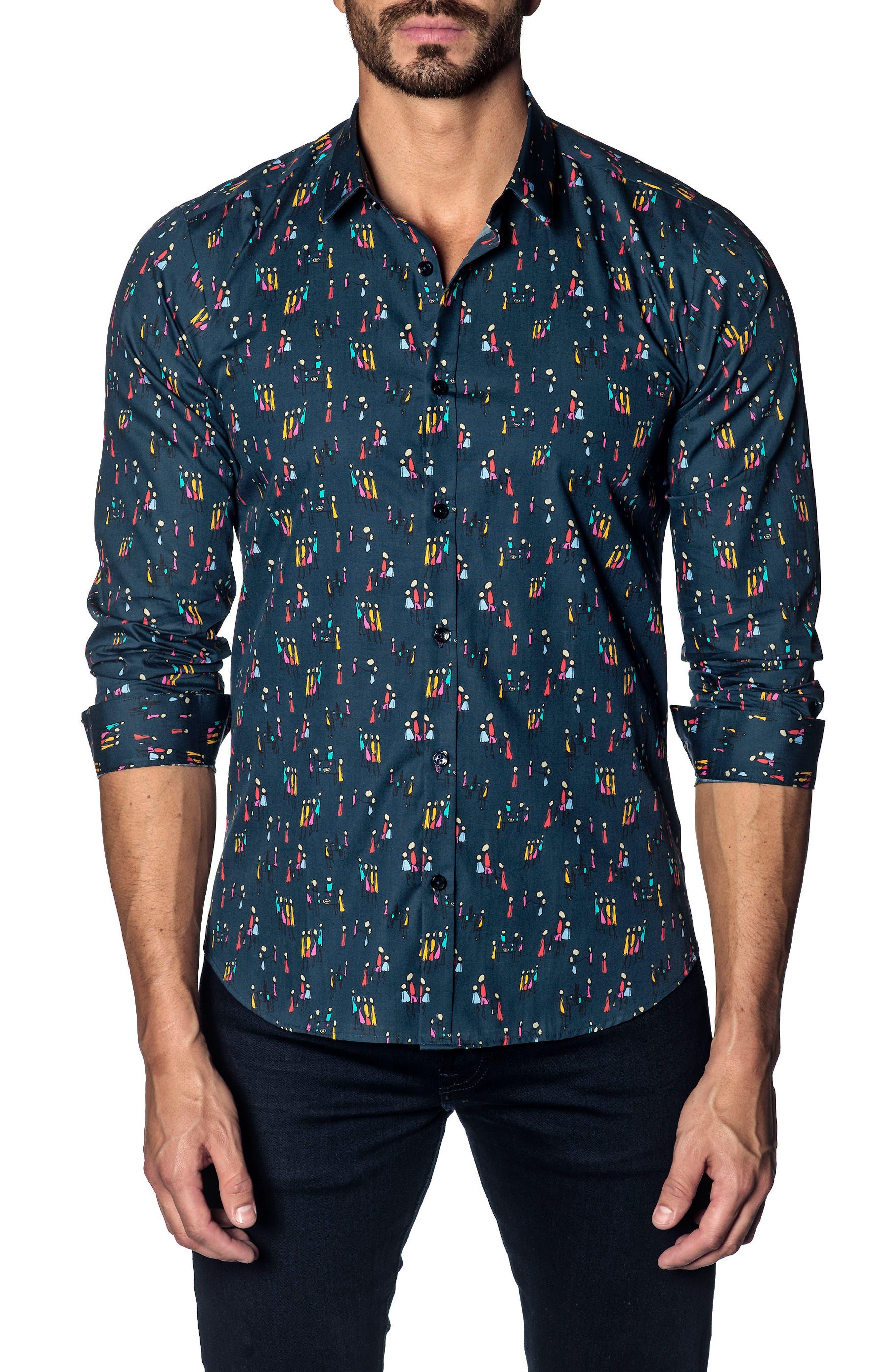 Trim Fit Sport Shirt,                         Main,                         color, NAVY MULTI PEOPLE PRINT