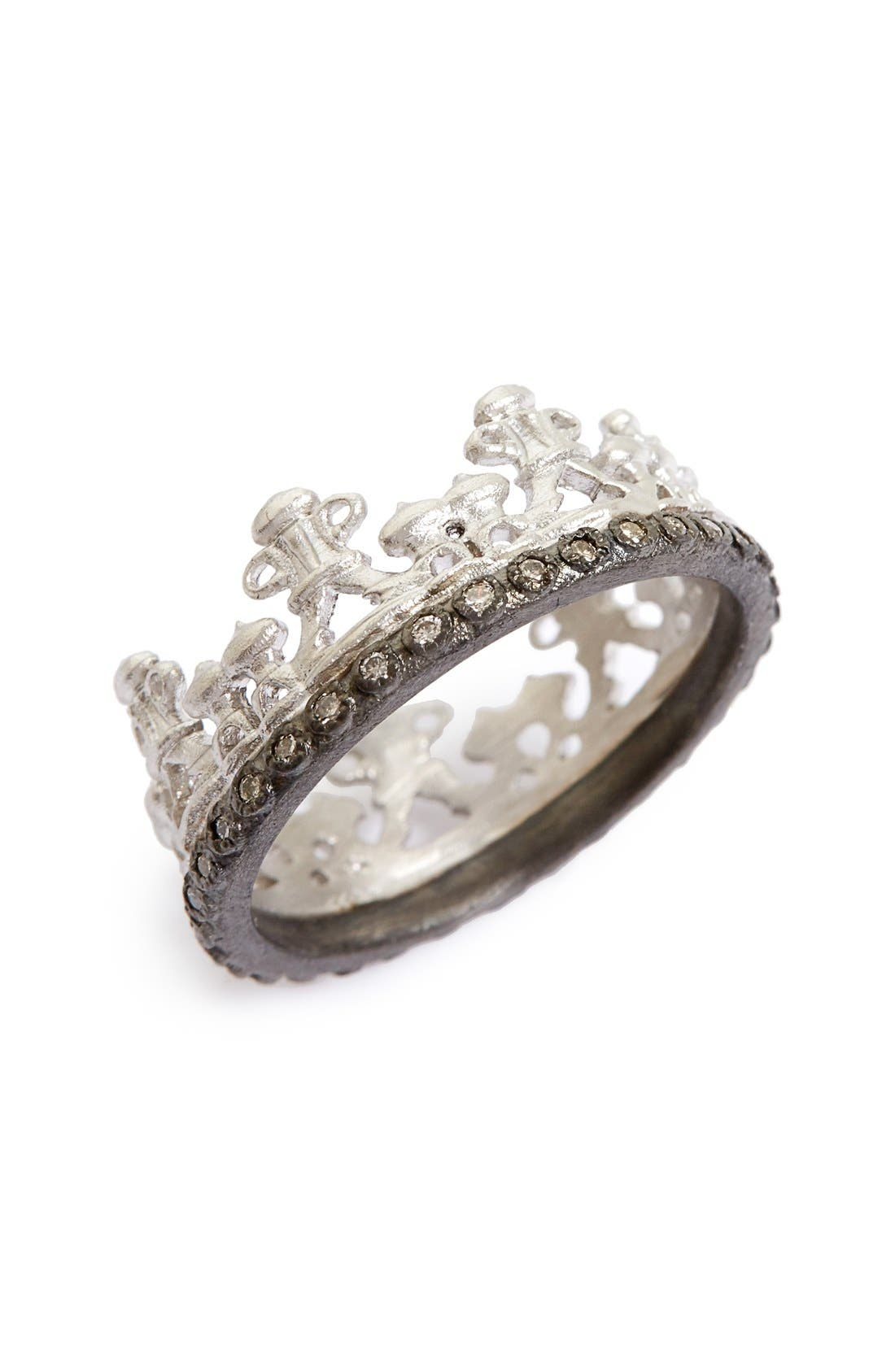 Old World Half Crown Diamond Ring,                             Main thumbnail 1, color,                             SILVER
