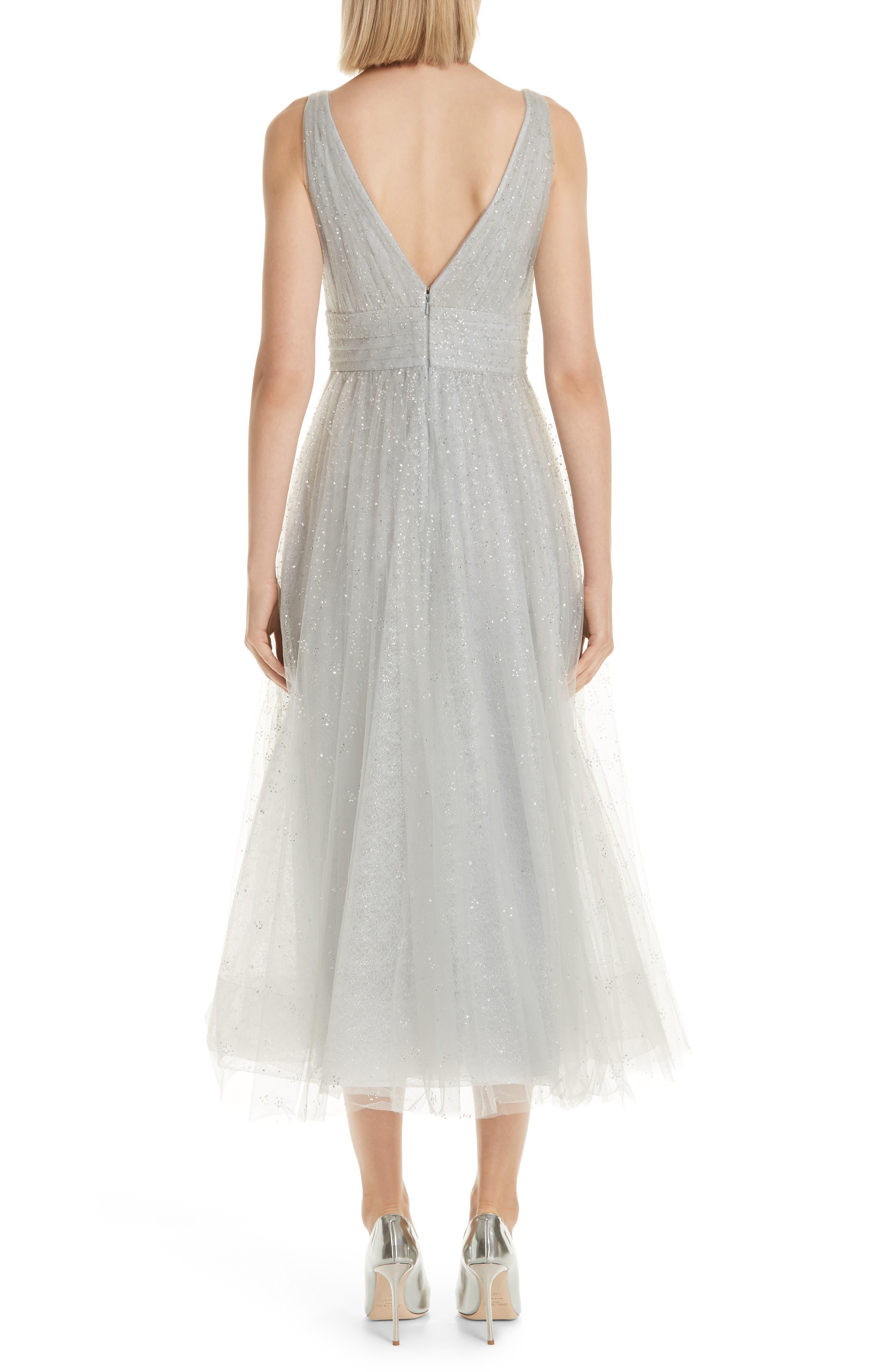 MARCHESA NOTTE,                             Glitter Tulle Tea Length Dress,                             Alternate thumbnail 2, color,                             SILVER