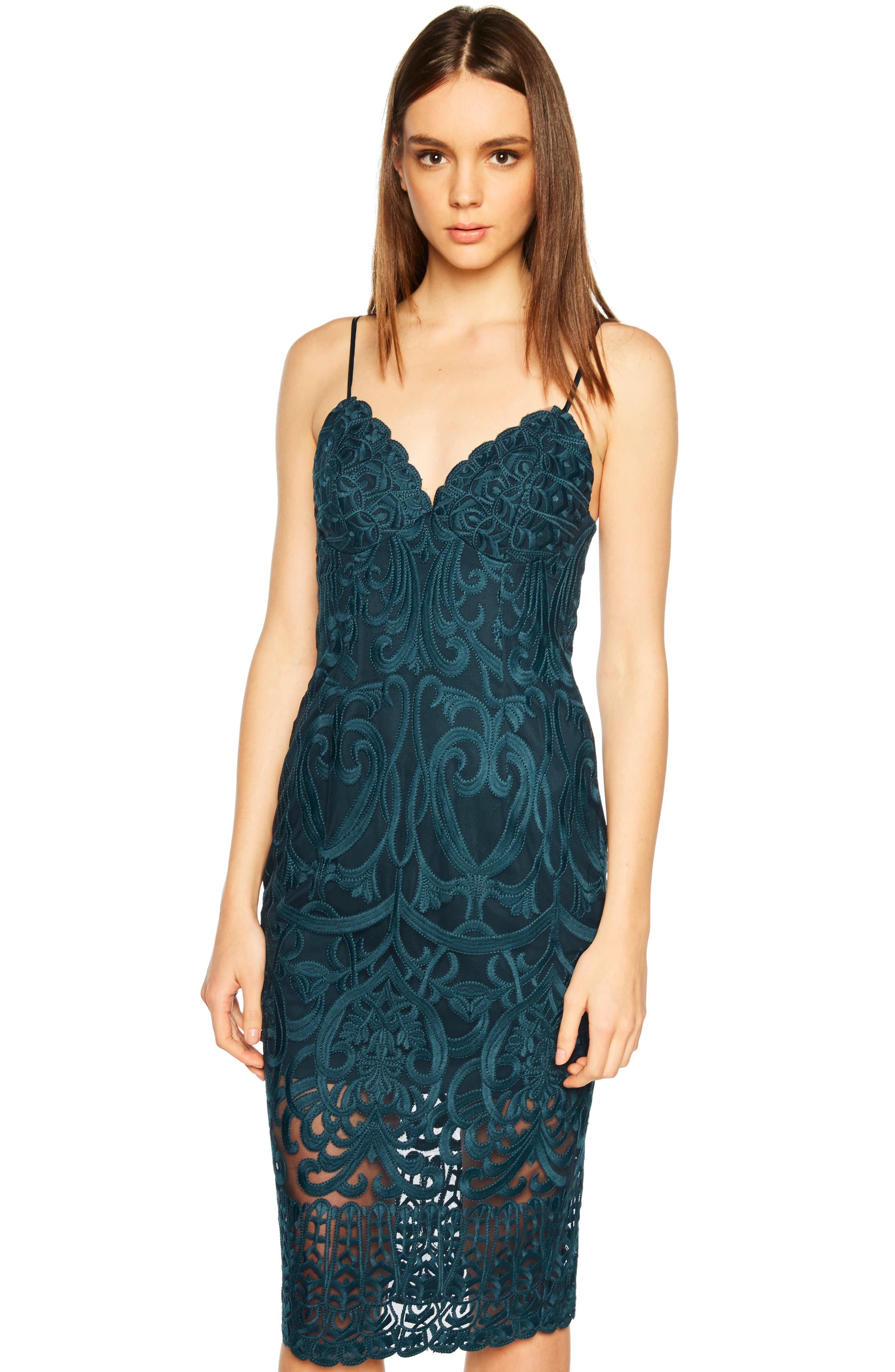 Gia Lace Pencil Dress,                             Alternate thumbnail 6, color,                             ASH BLUE
