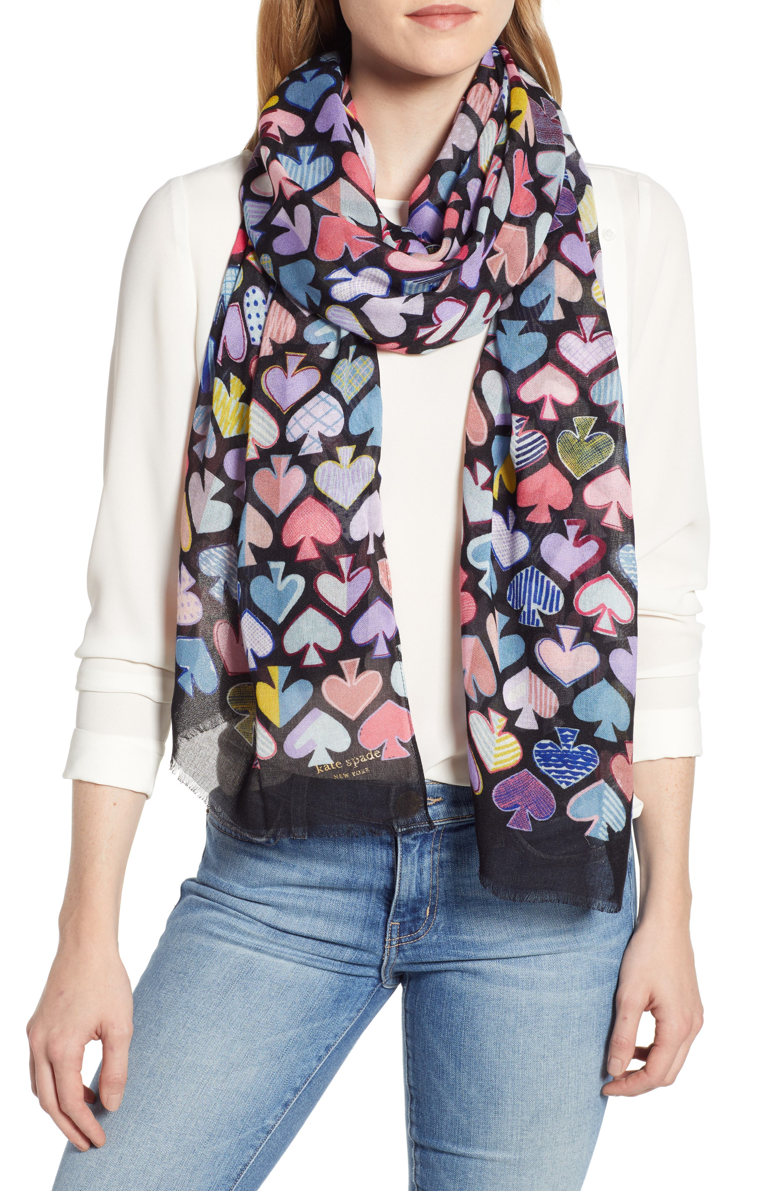 graffiti spades scarf, Main, color, BLACK