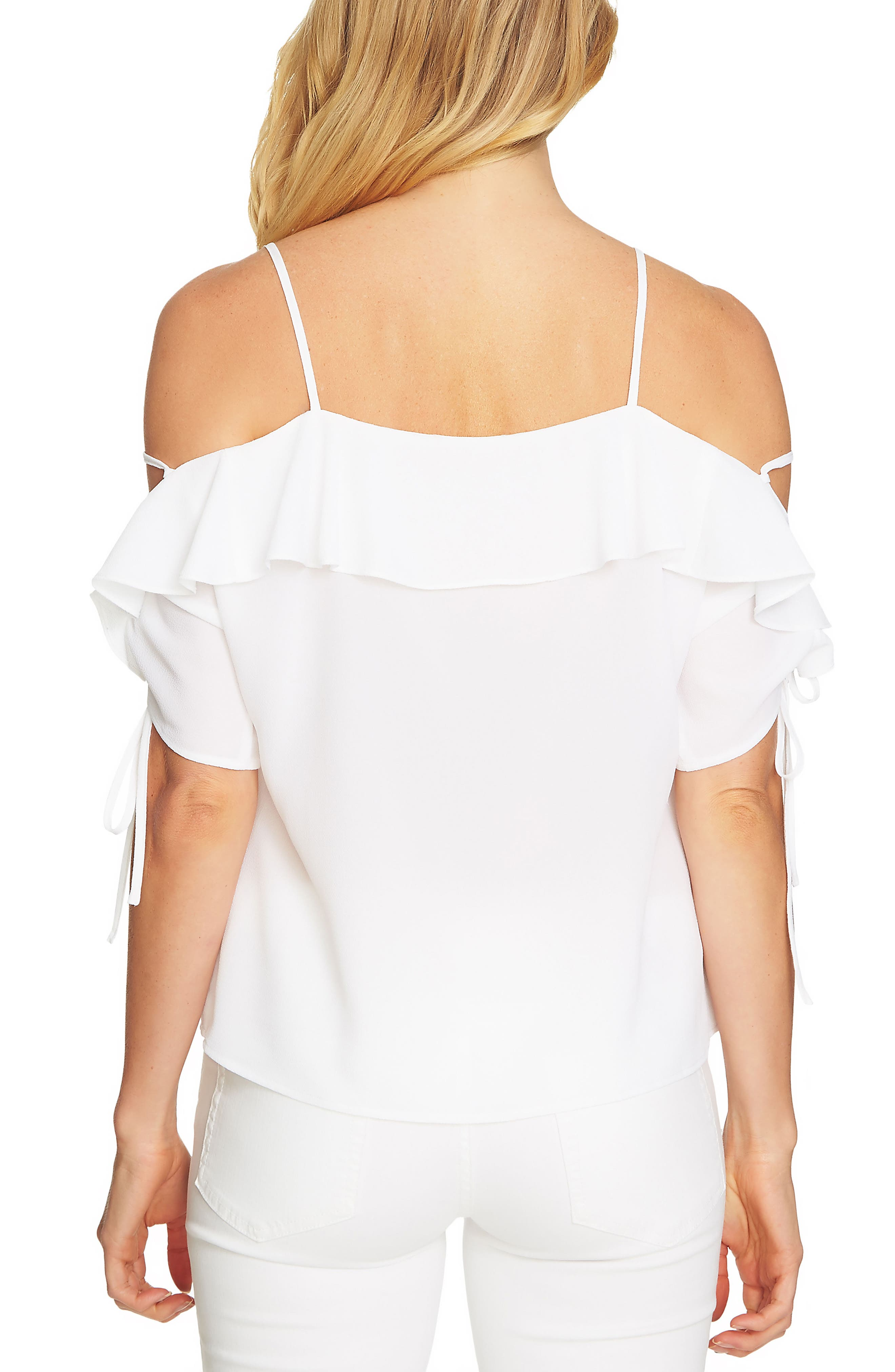 Cold Shoulder Ruffle Stretch Crepe Top,                             Alternate thumbnail 4, color,
