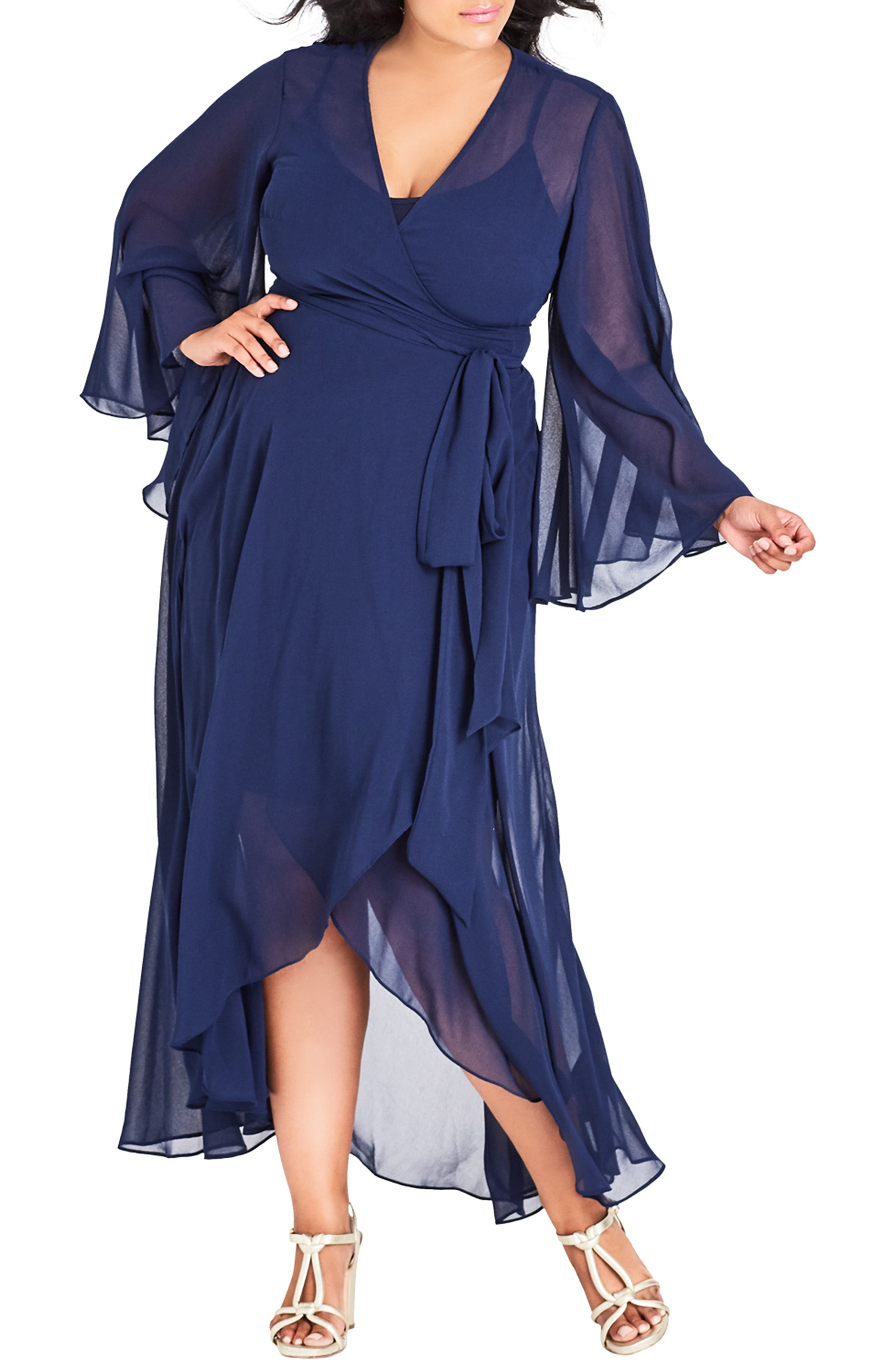Plus Size City Chic Fleetwood Wrap Maxi Dress, Blue