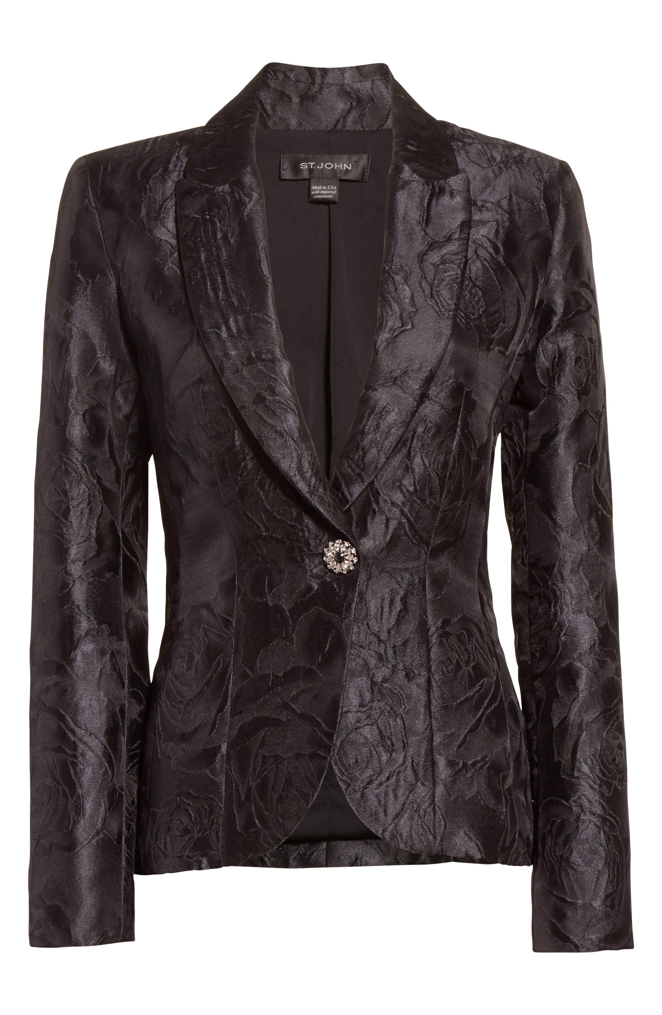 Avani Rose Jacquard Jacket,                             Alternate thumbnail 6, color,                             001