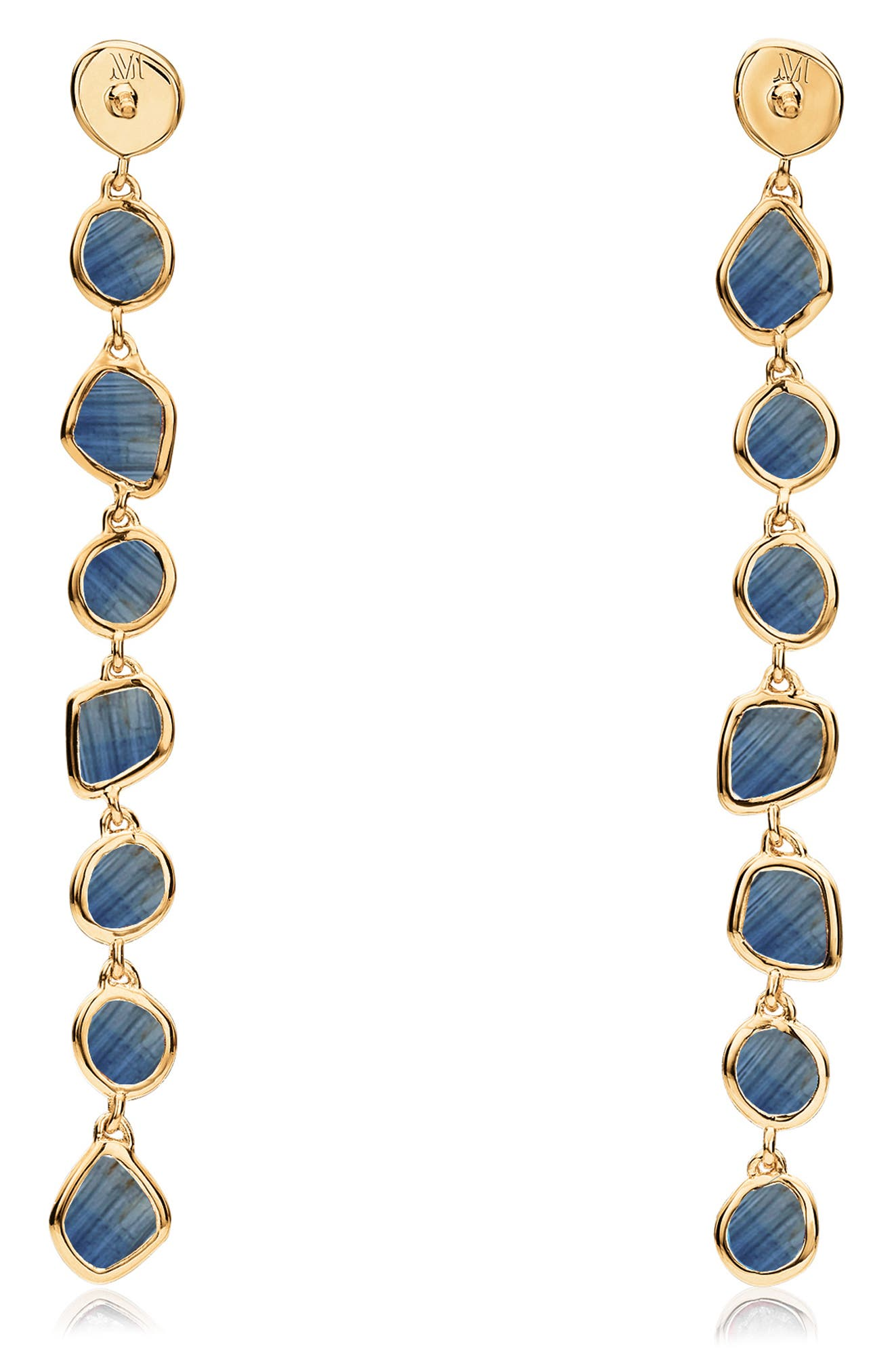 Siren Mini Nugget Earrings,                             Alternate thumbnail 3, color,                             GOLD/ KYANITE