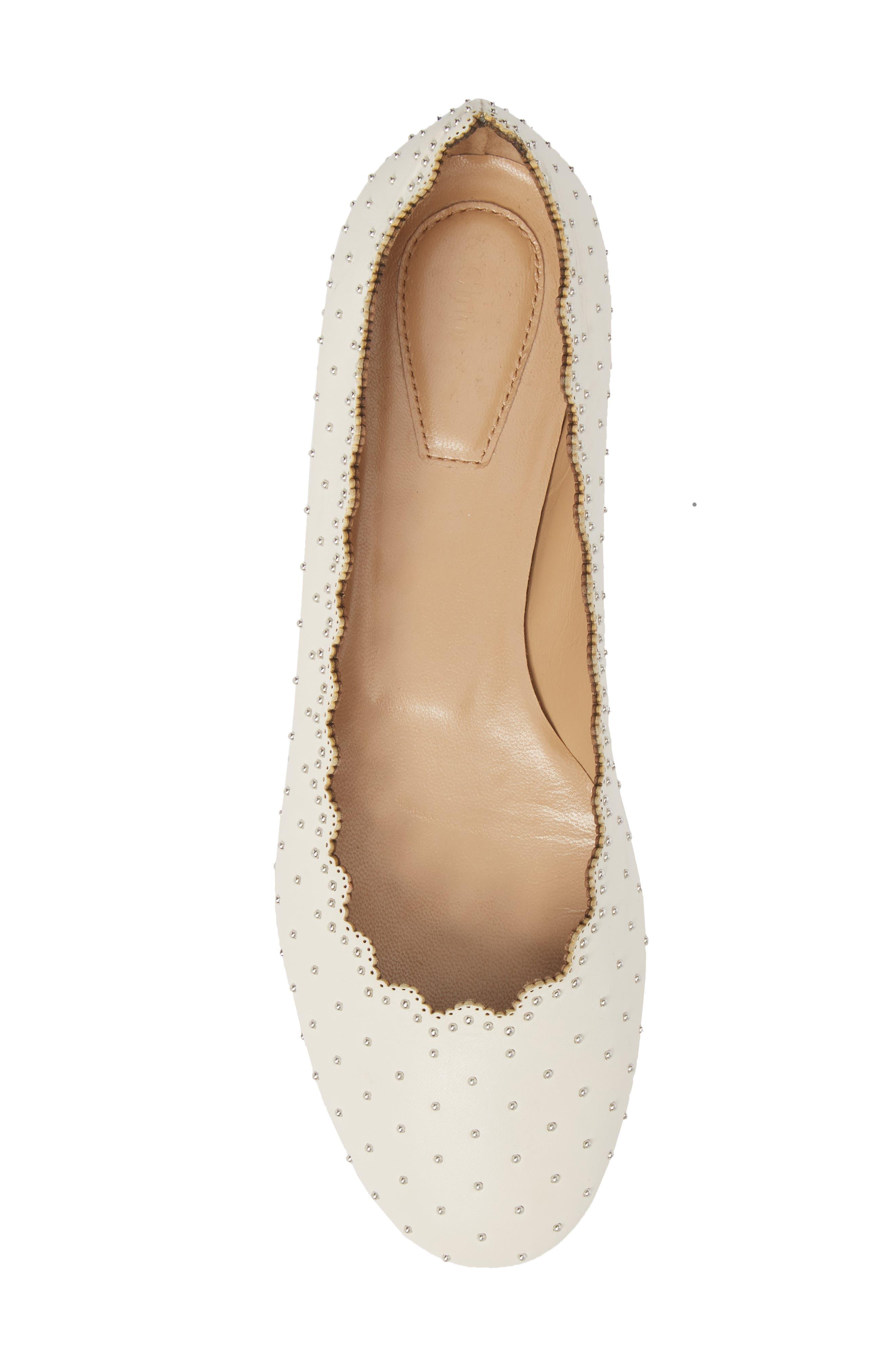 Lauren Studded Ballet Flat,                             Alternate thumbnail 5, color,                             WHITE