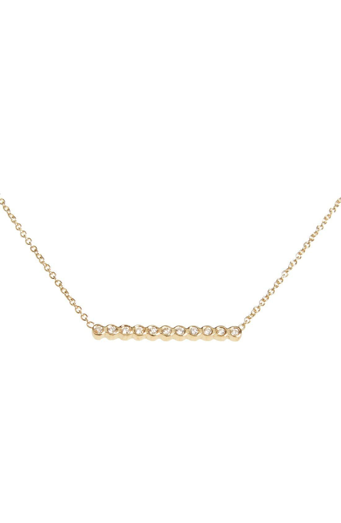 Diamond Bar Pendant Necklace,                             Main thumbnail 1, color,                             YELLOW GOLD