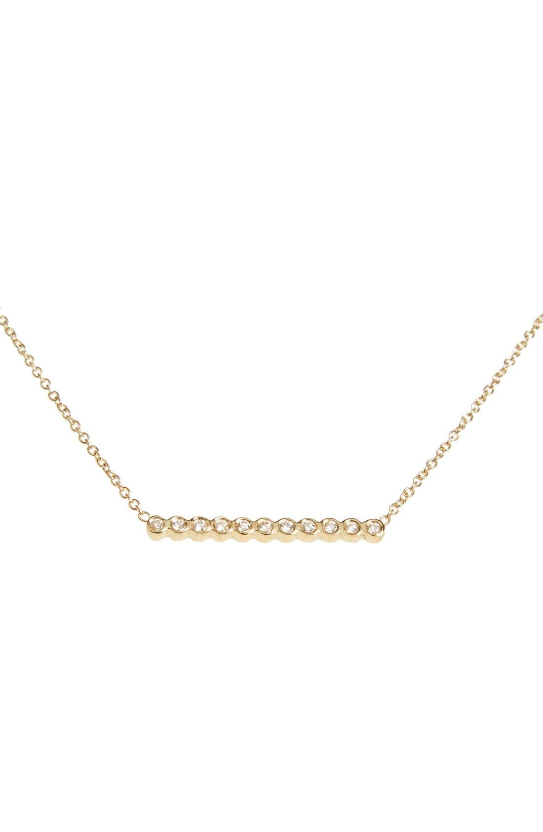 Diamond Bar Pendant Necklace,                         Main,                         color, YELLOW GOLD