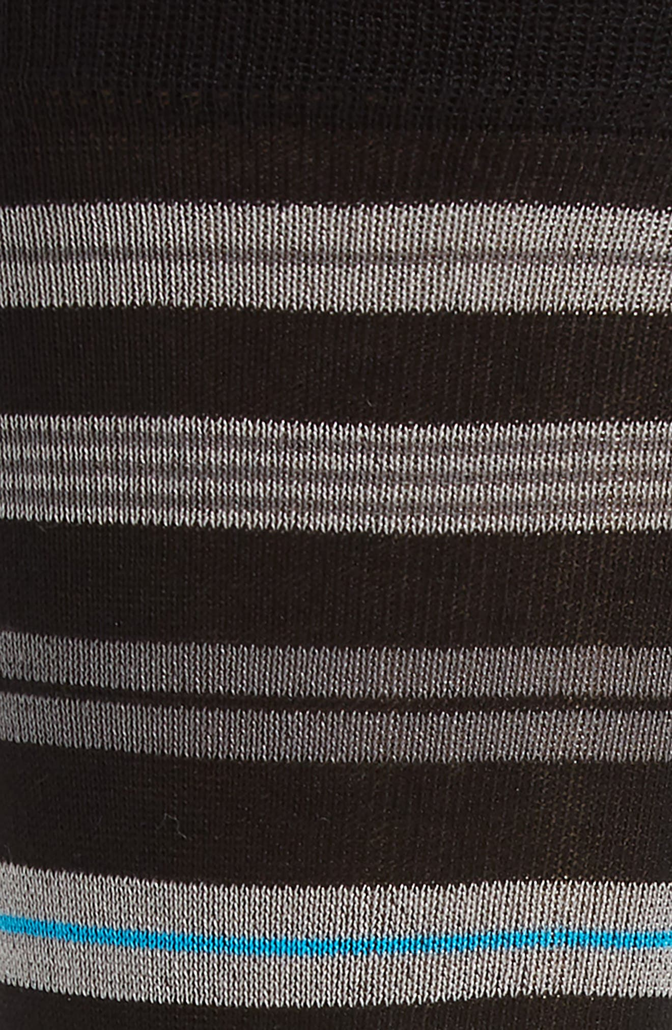 Stripe Mercerized Cotton Blend Socks,                             Alternate thumbnail 2, color,                             BLACK