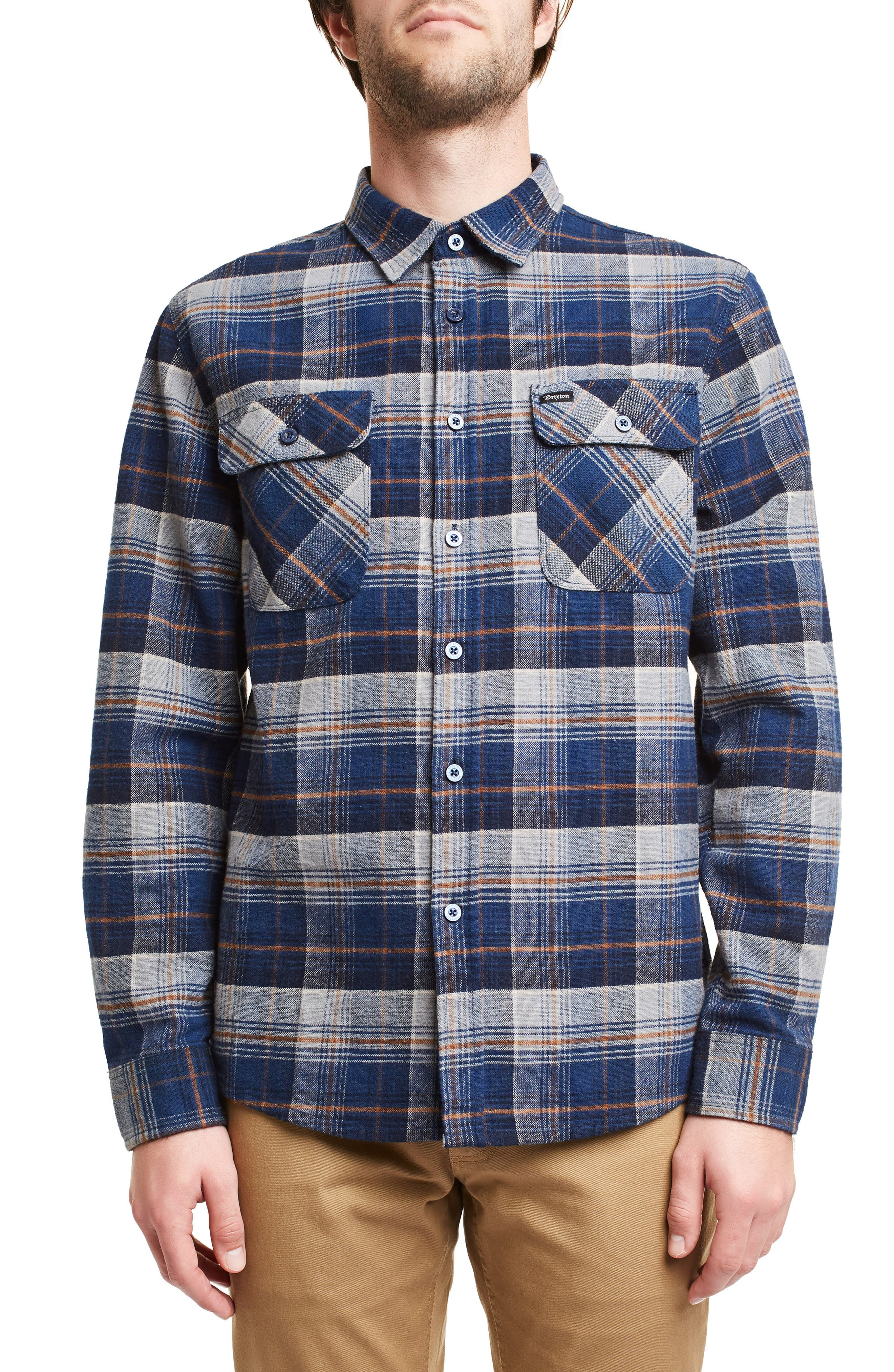 Brixton Bowery Plaid Flannel Shirt, Blue