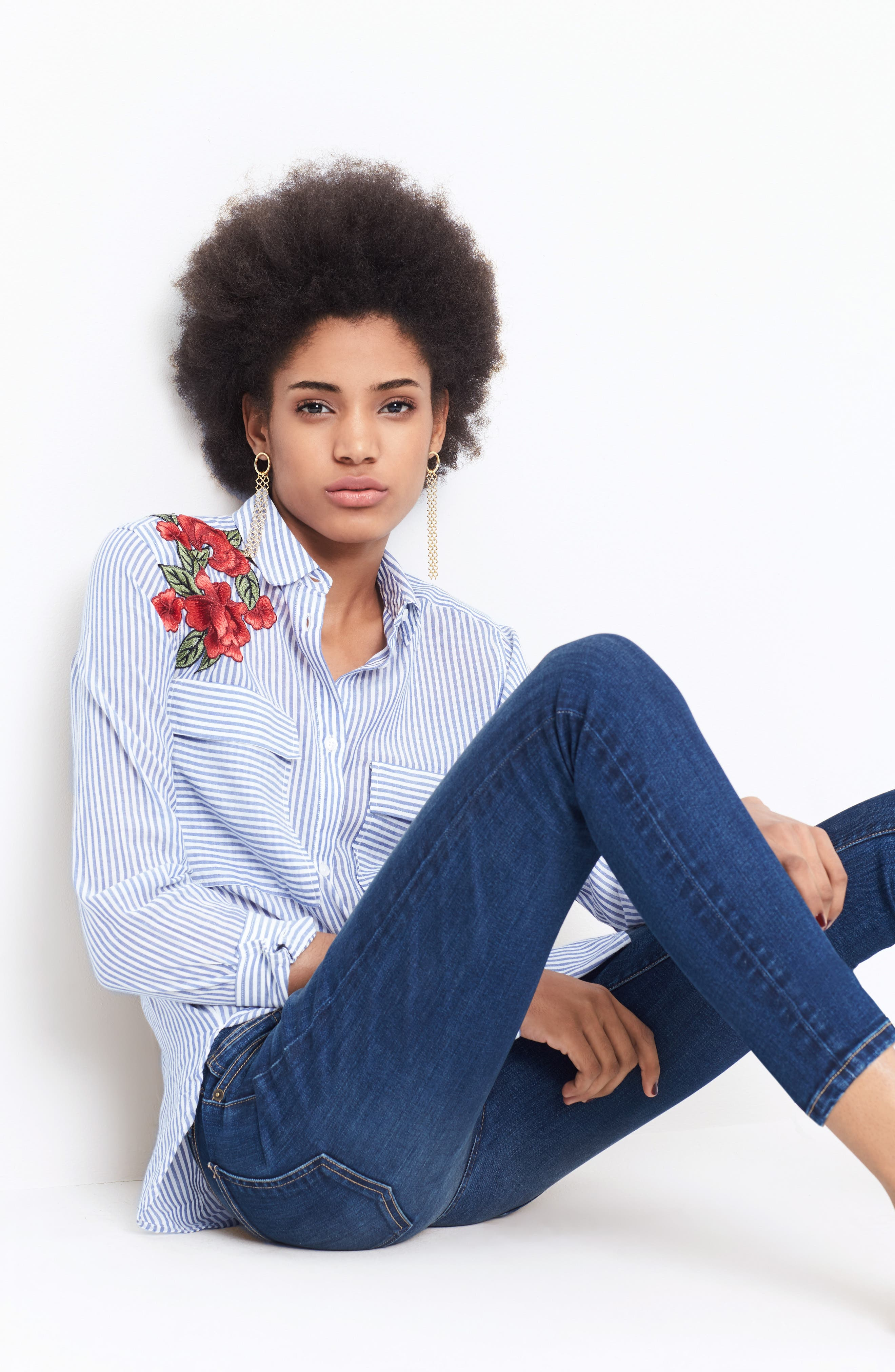 Frances Embroidered Stripe Shirt,                             Alternate thumbnail 7, color,                             425