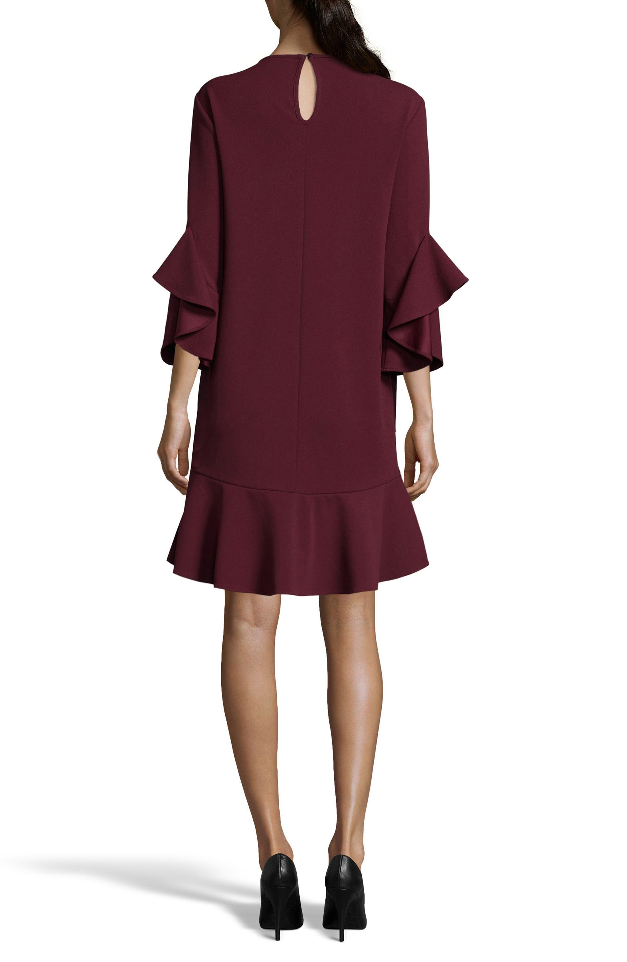 Ruffle Bell Sleeve Shift Dress,                             Alternate thumbnail 8, color,