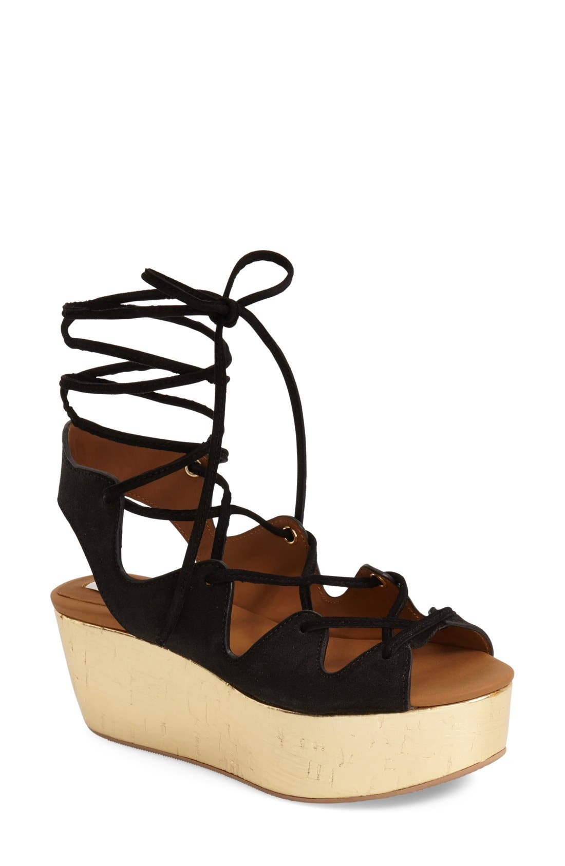 'Liana' Platform Wedge Sandal,                             Main thumbnail 1, color,                             001