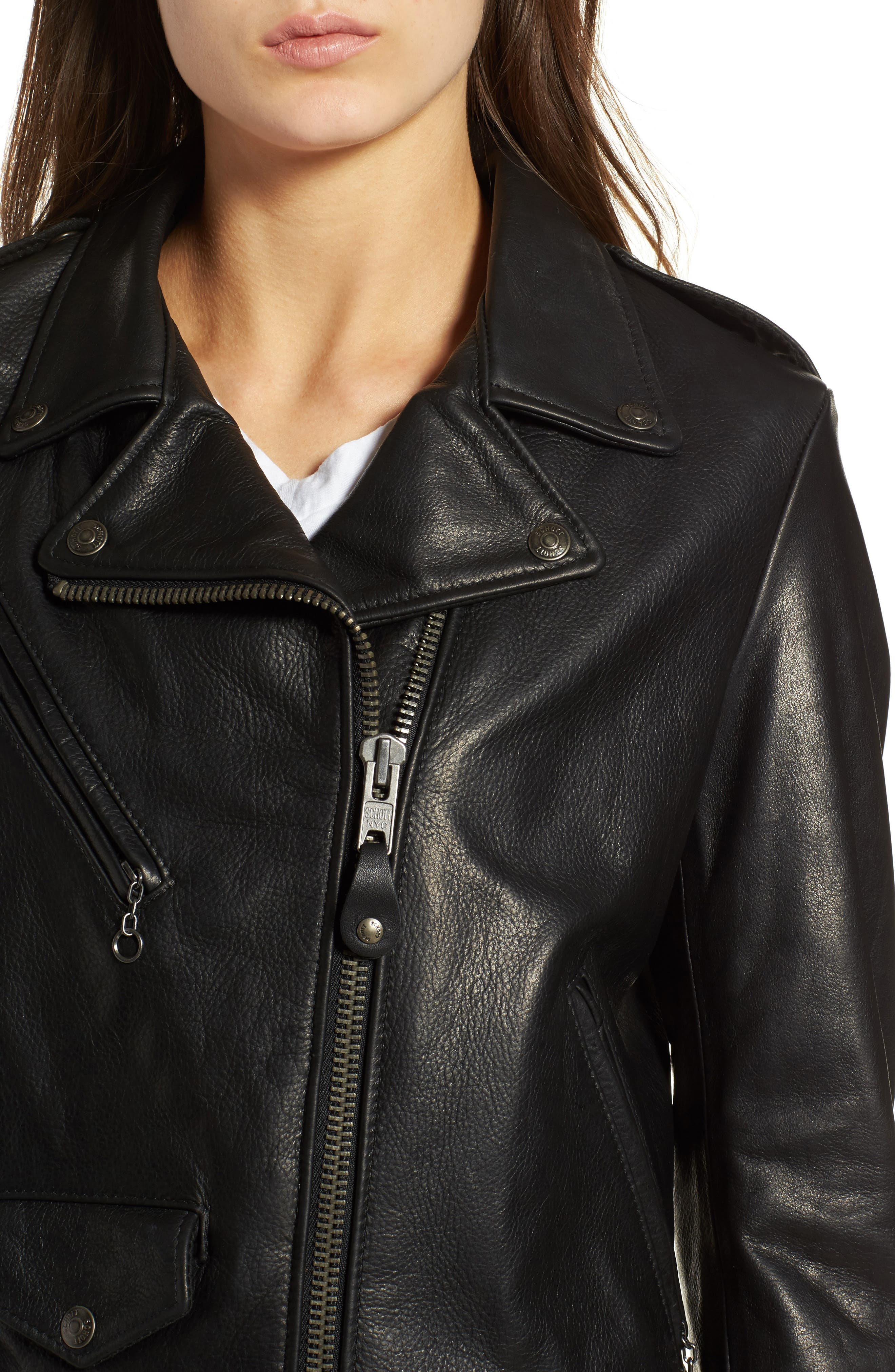 Lightweight Perfecto Leather Jacket,                             Alternate thumbnail 4, color,                             BLACK