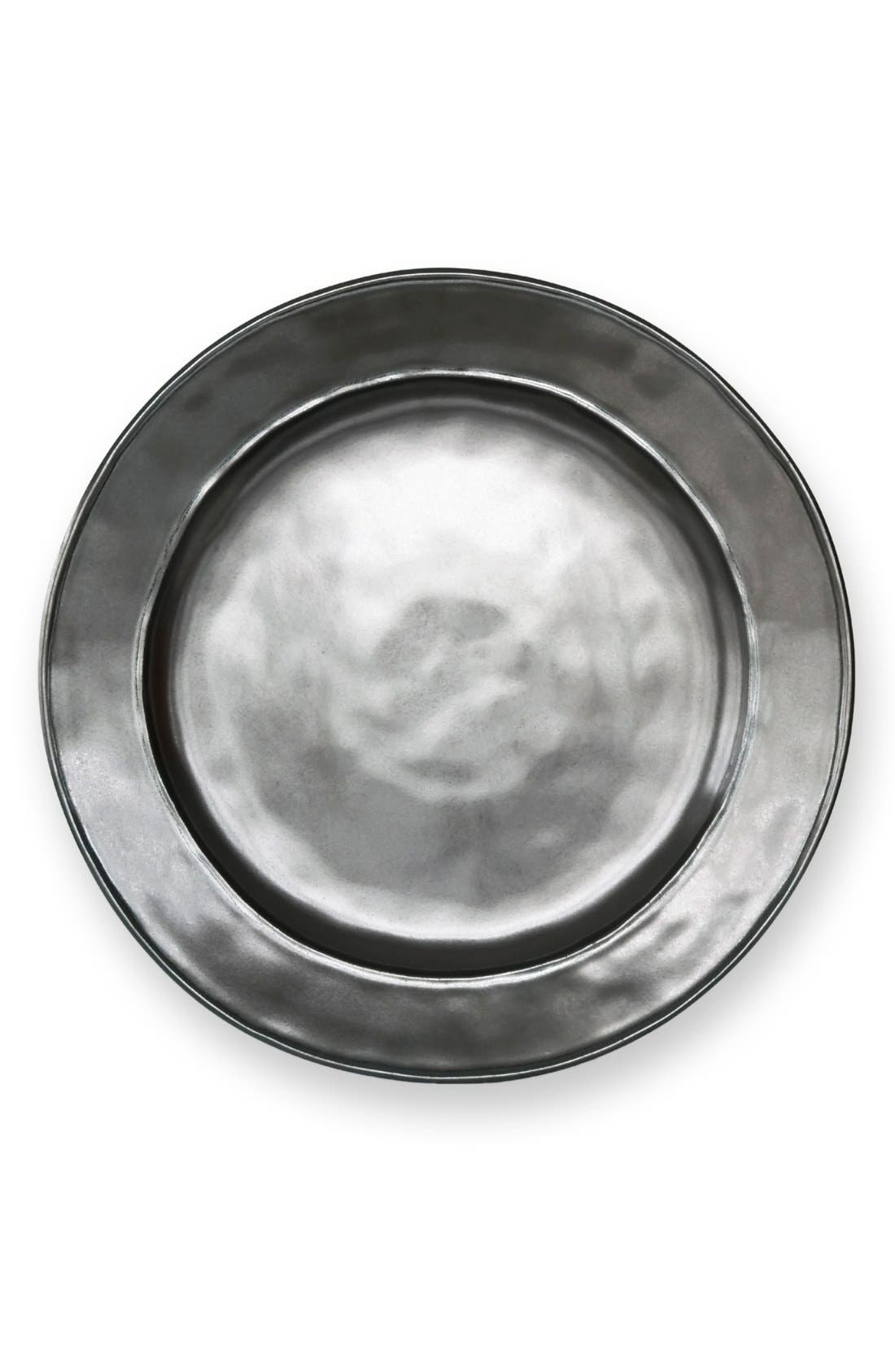 'Pewter' Stoneware Dinner Plate,                         Main,                         color, PEWTER